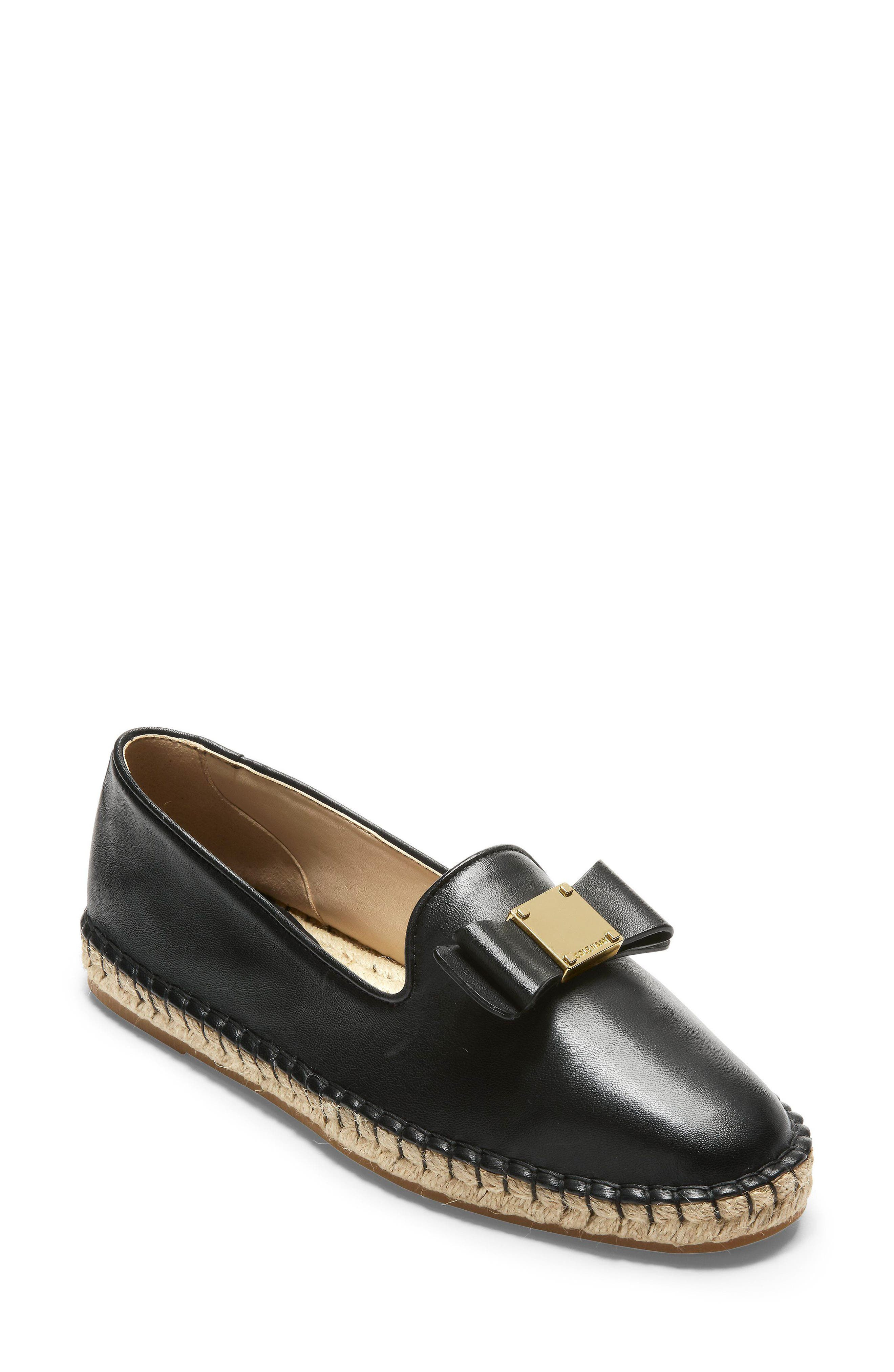 Tali Bow Espadrille Flat,                         Main,                         color, Black Leather