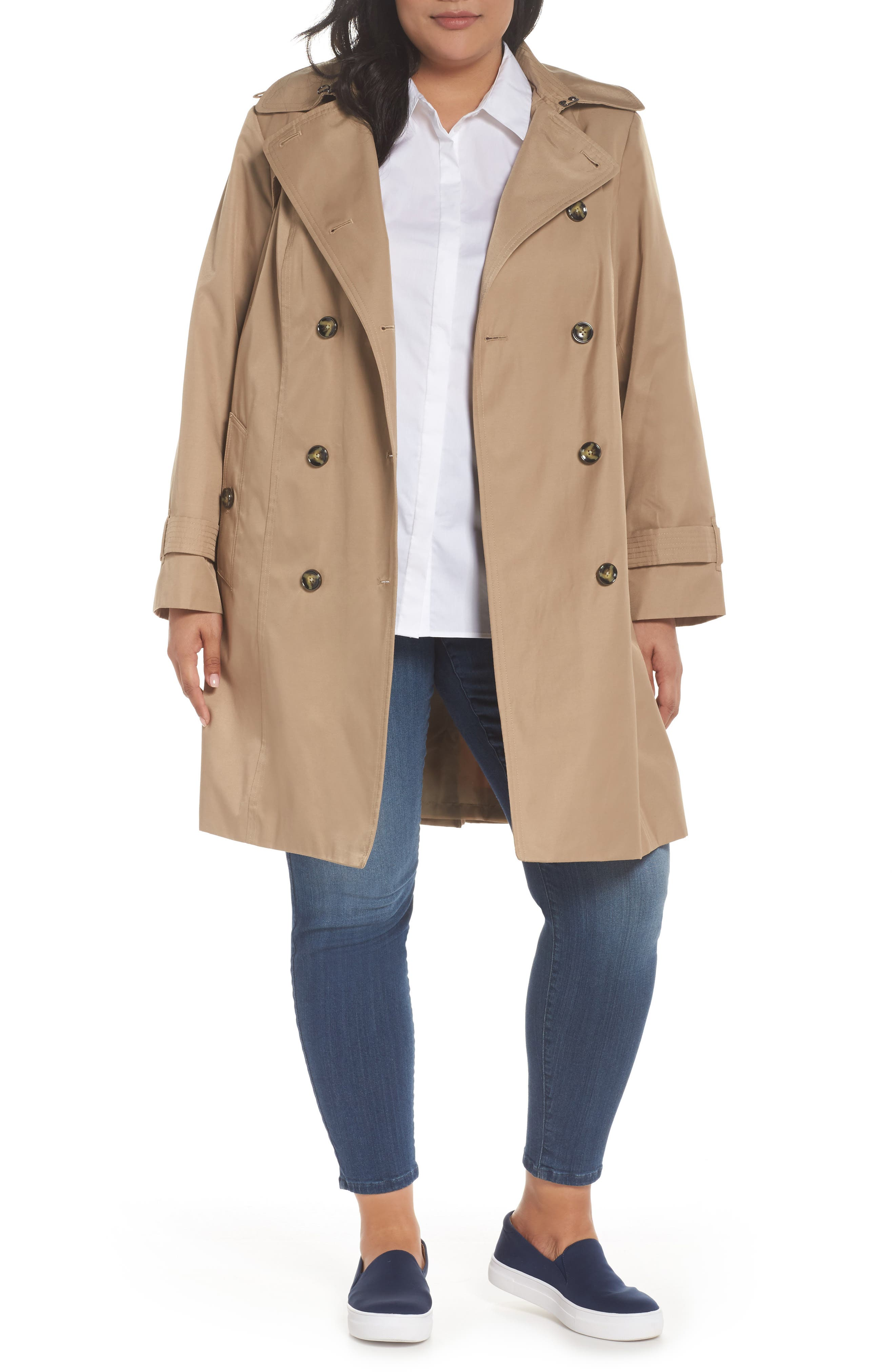 Hooded Double Breasted Trench Coat,                             Main thumbnail 1, color,                             Br Khaki