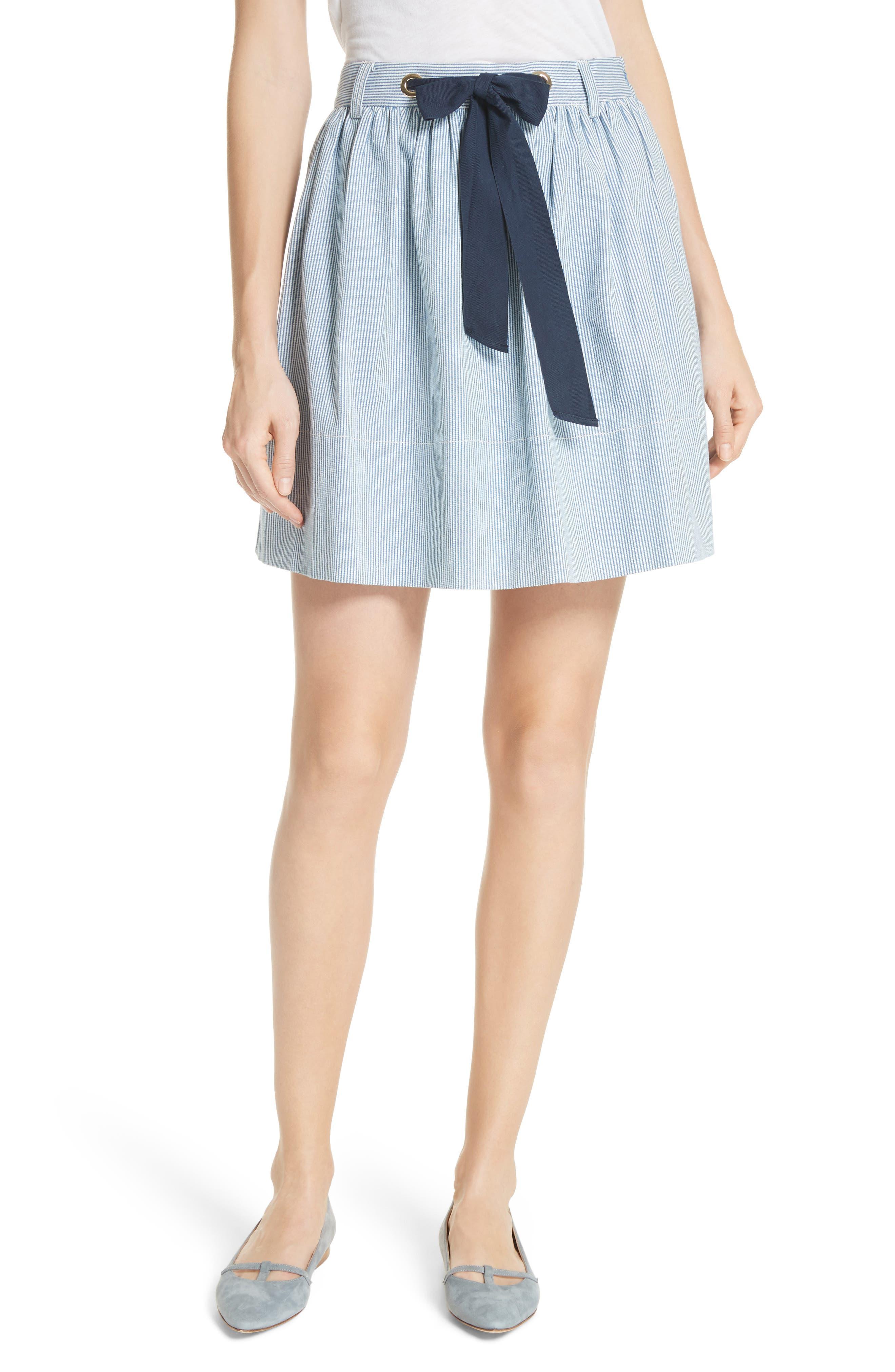 railroad stripe denim skirt,                             Main thumbnail 1, color,                             Indigo/ Cream