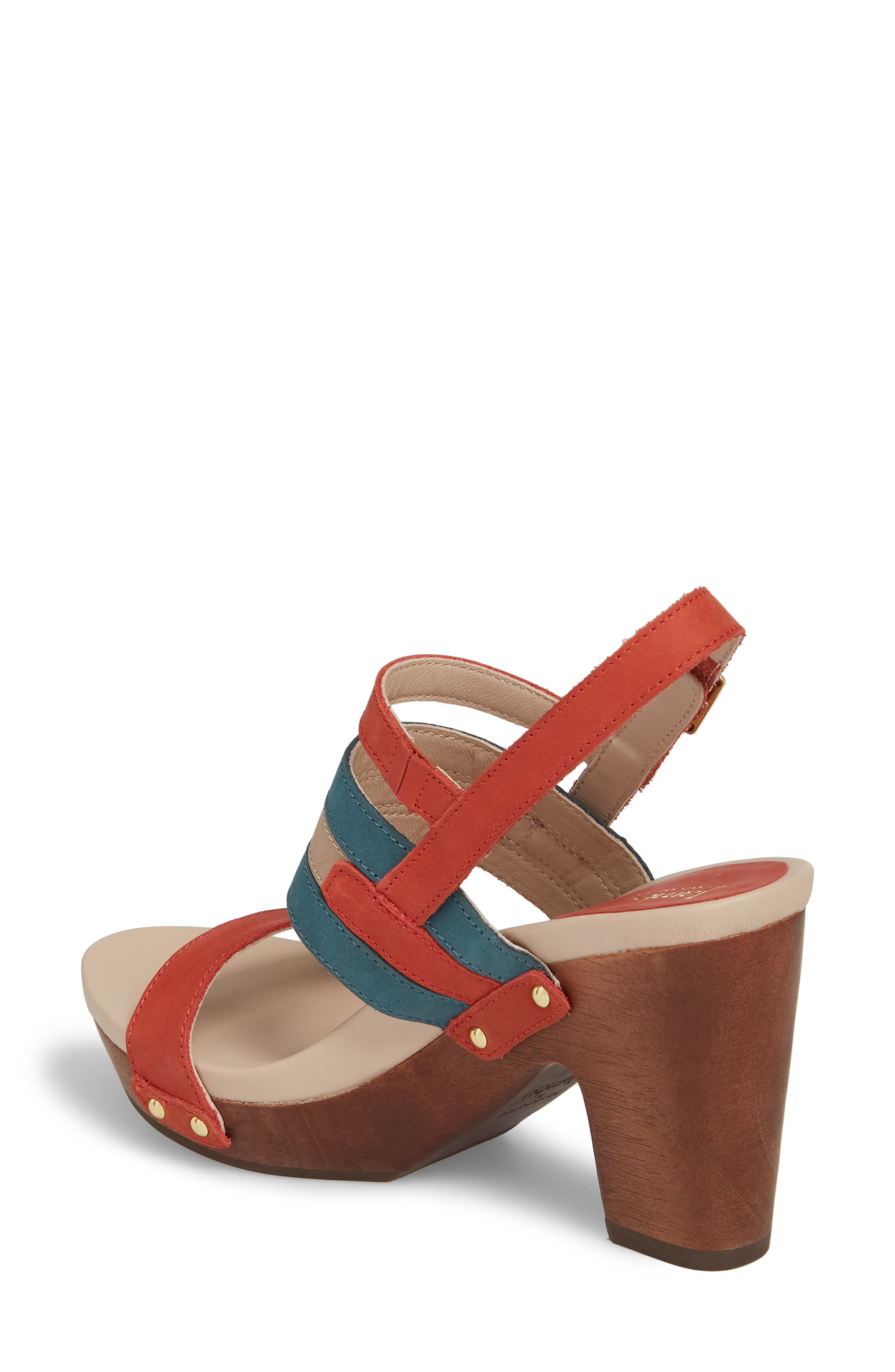 Viola Platform Sandal,                             Alternate thumbnail 2, color,                             Coral/ Teal Nubuck