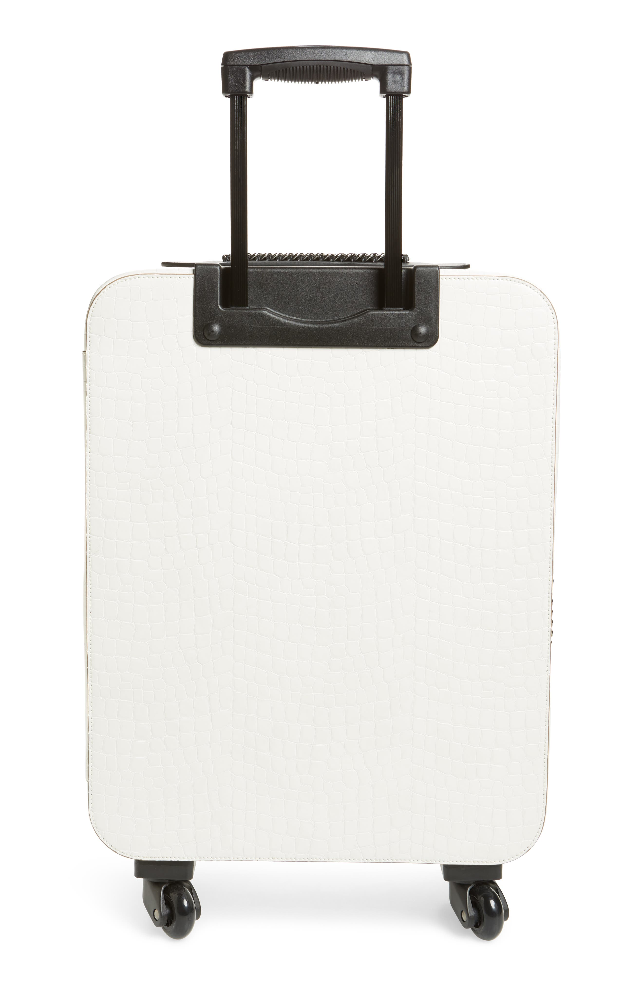 20-Inch Alter Croc Faux Leather Trolley Case,                             Alternate thumbnail 4, color,                             Ivory