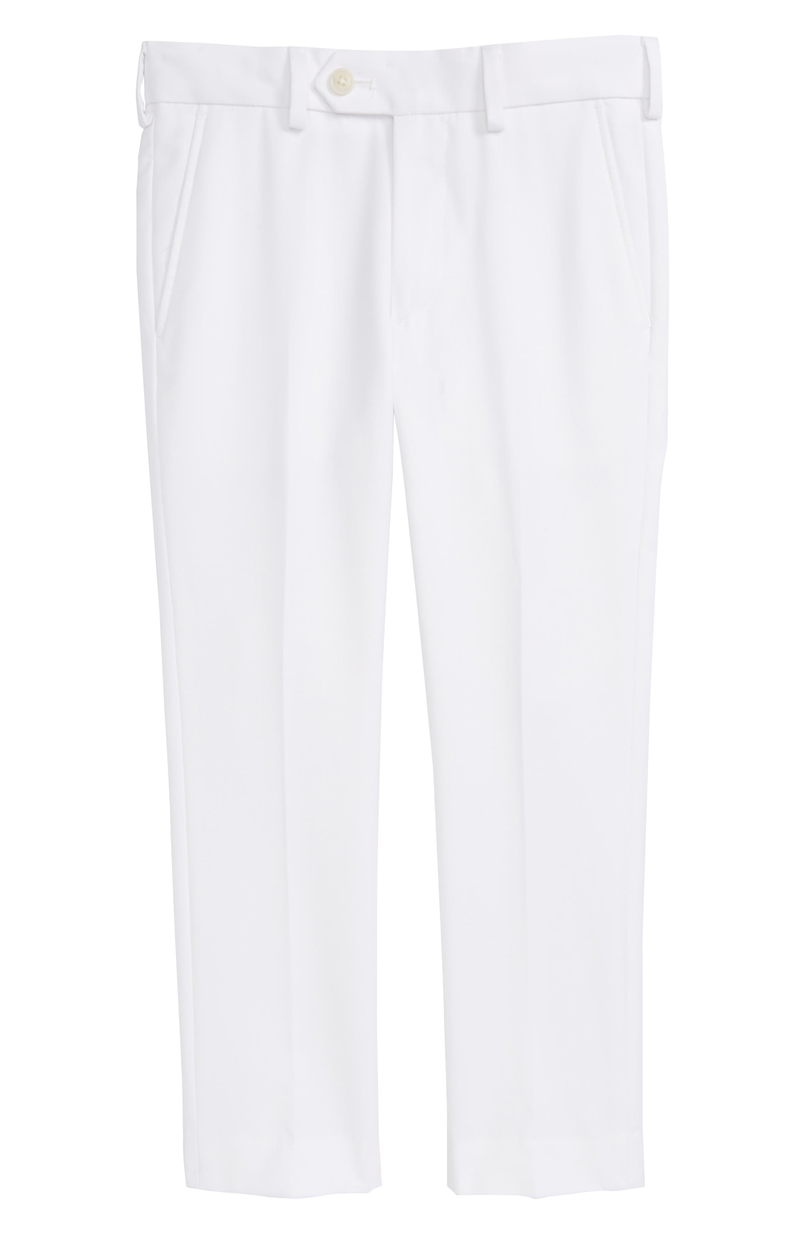 Flat Front Trousers,                         Main,                         color, White