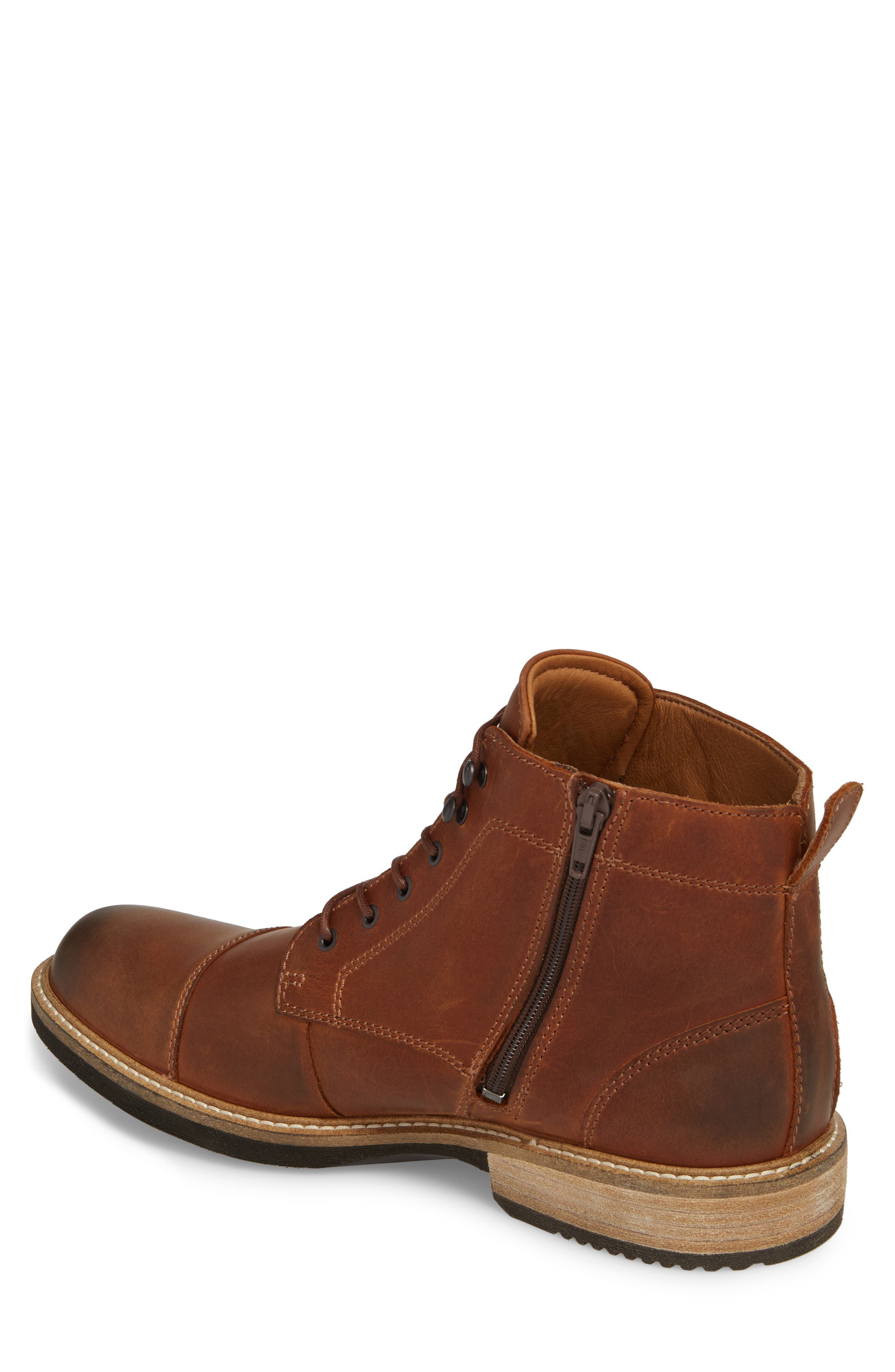 Kenton Vintage Cap Toe Boot,                             Alternate thumbnail 2, color,                             Cognac Leather