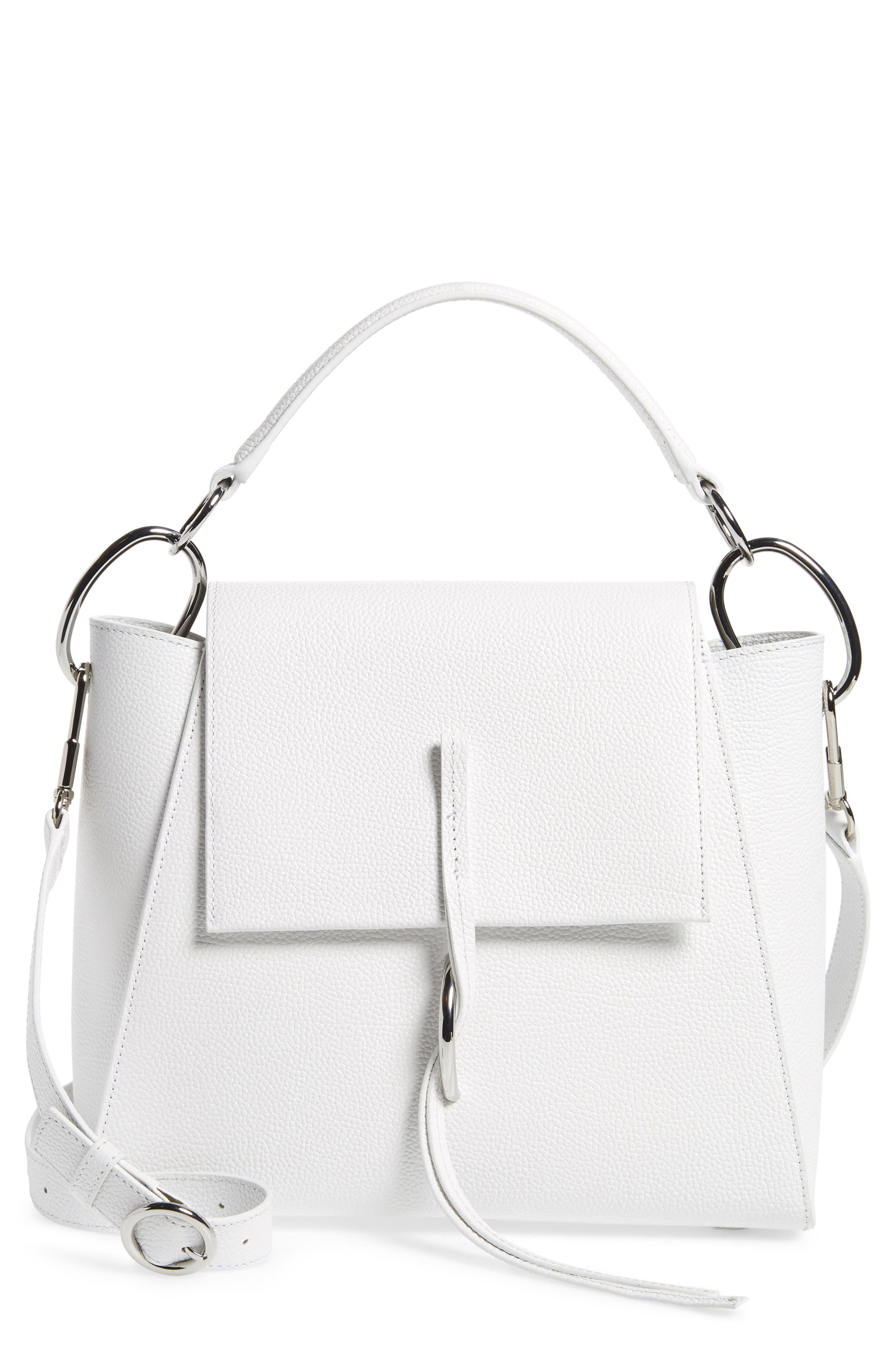 Leigh Top Handle Leather Satchel,                         Main,                         color, Off White