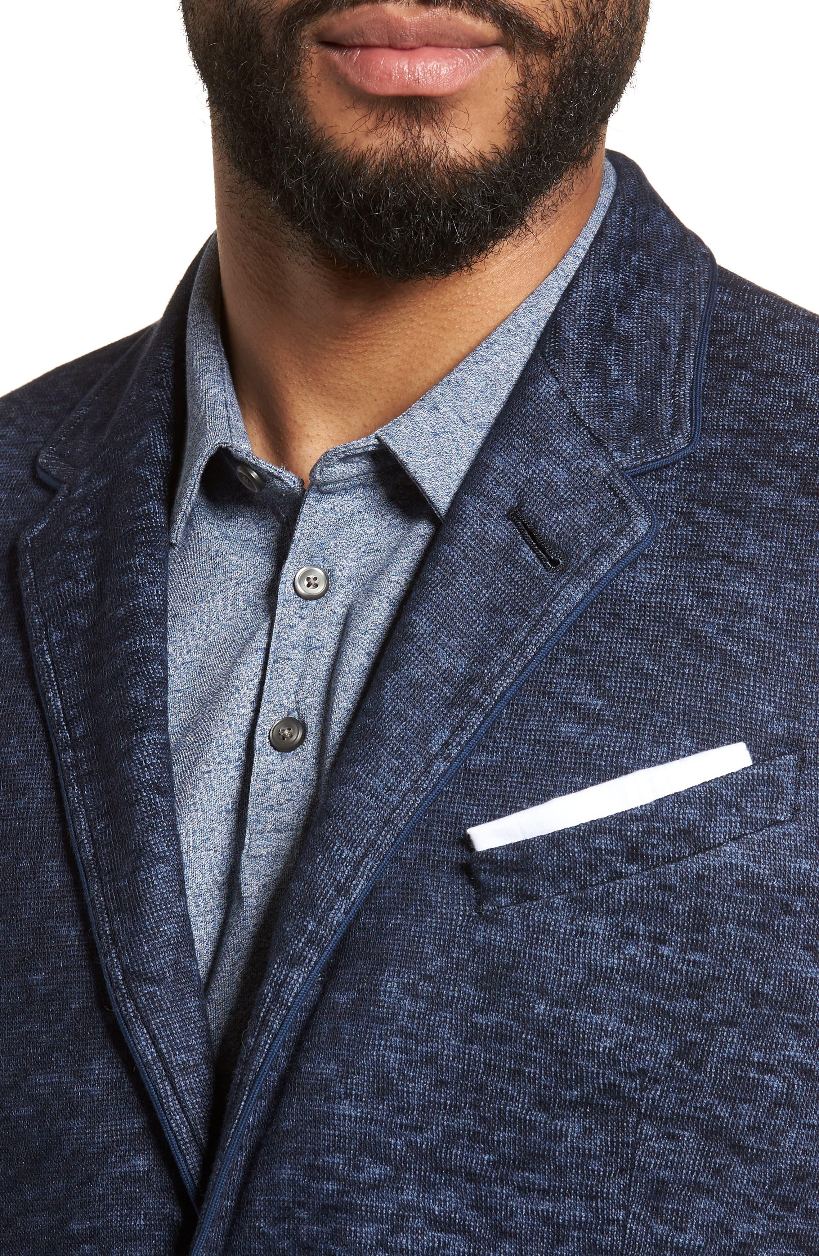 Regular Fit Cotton & Linen Blazer,                             Alternate thumbnail 4, color,                             Officer Blue