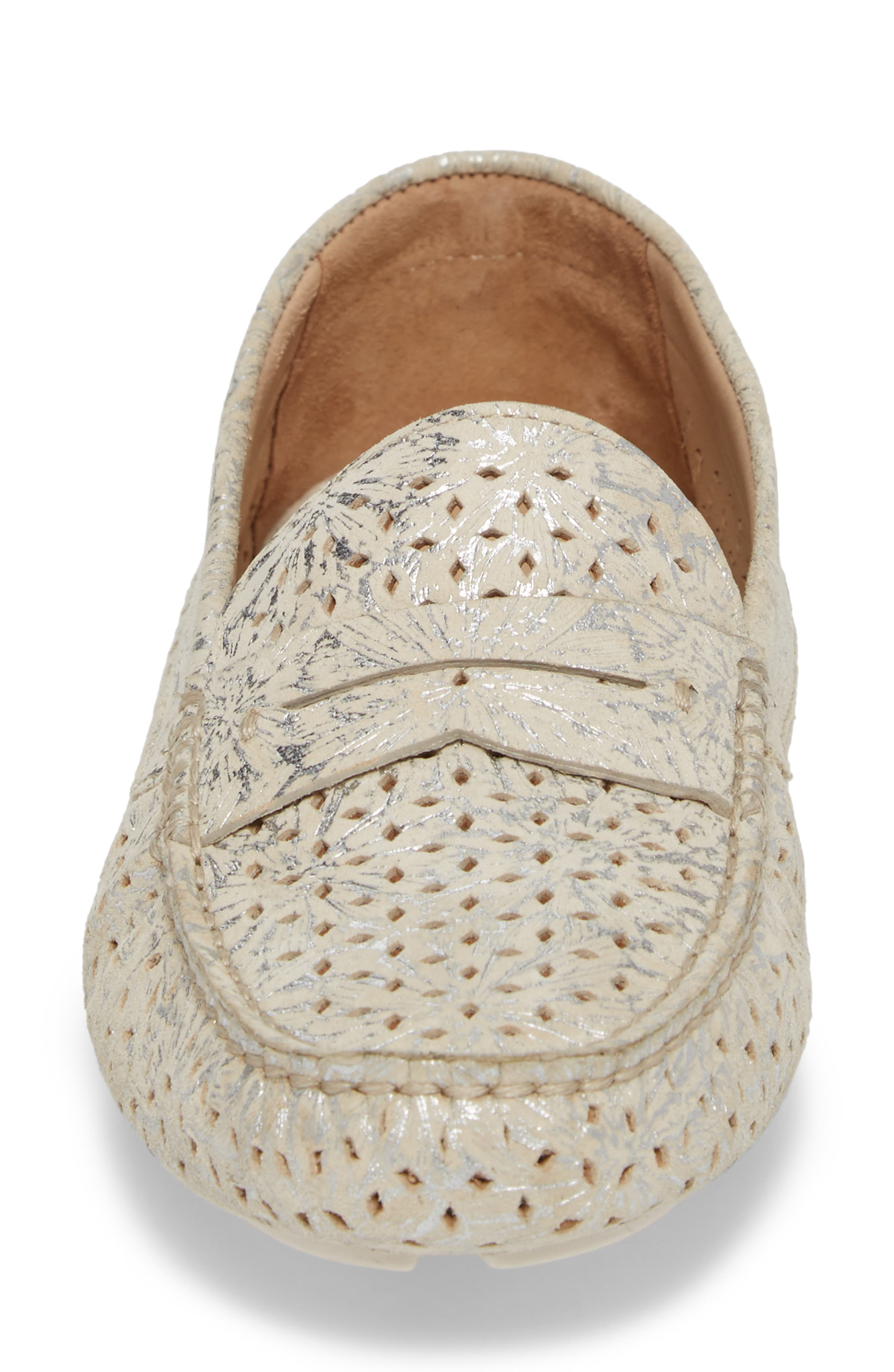 'Maggie' Penny Loafer,                             Alternate thumbnail 4, color,                             Cream Suede