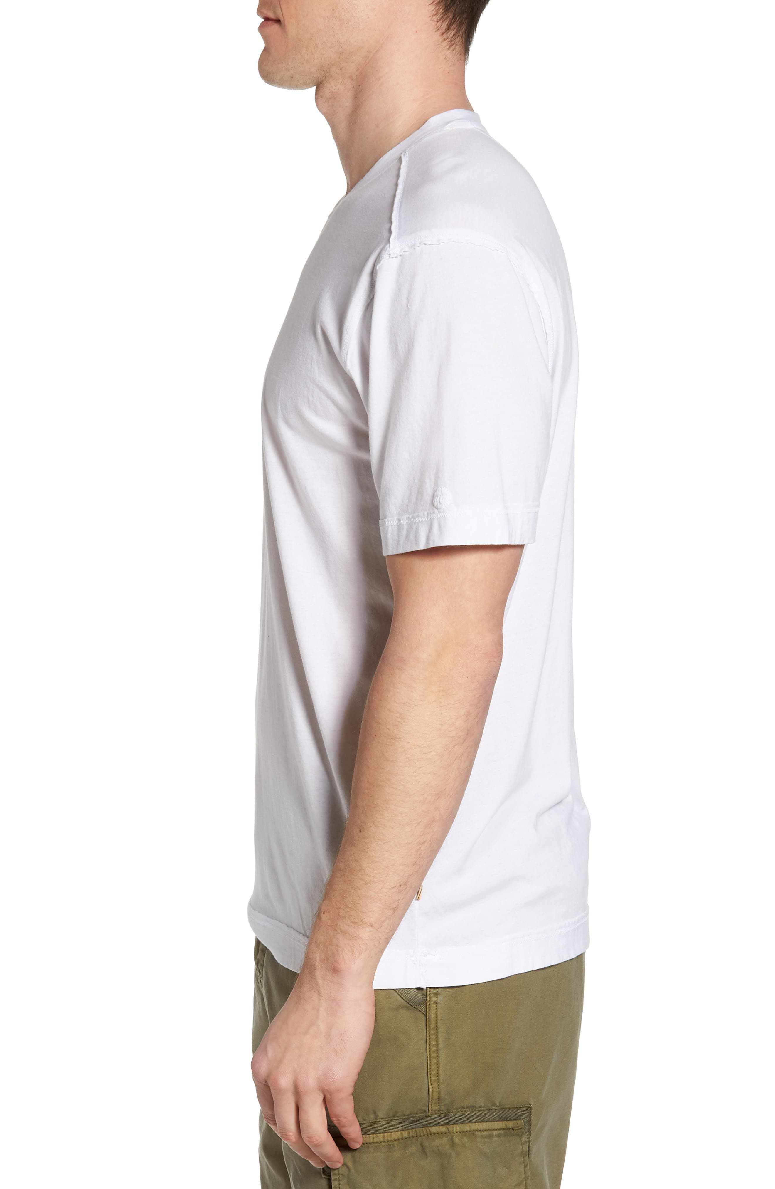 Cross Raw Seam V-Neck T-Shirt,                             Alternate thumbnail 3, color,                             White