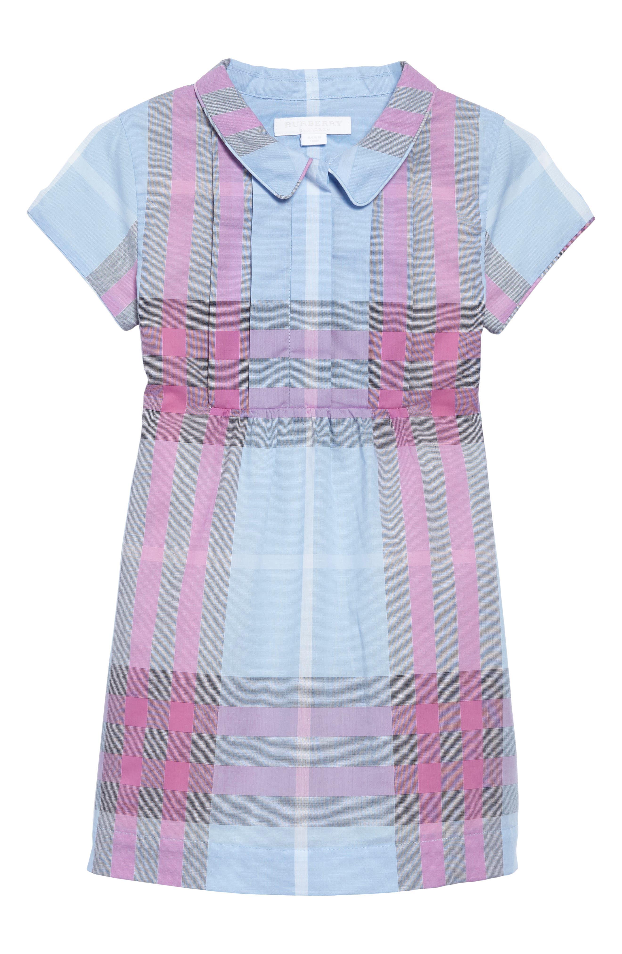 Taylor Check Dress,                             Main thumbnail 1, color,                             Chalk Blue