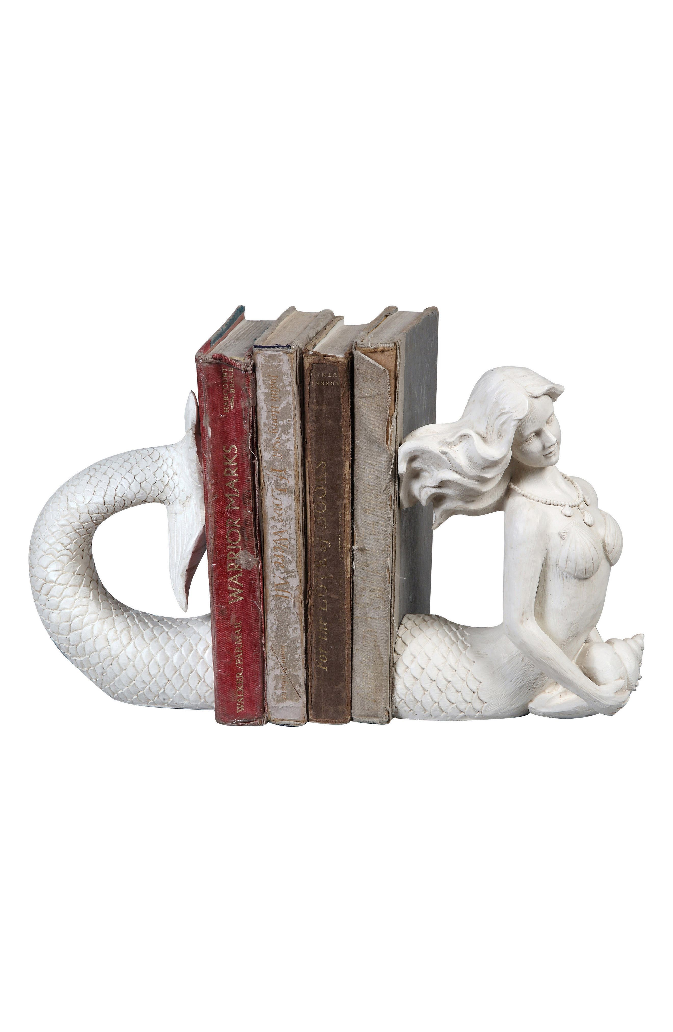 Mermaid Bookends,                             Main thumbnail 1, color,                             White