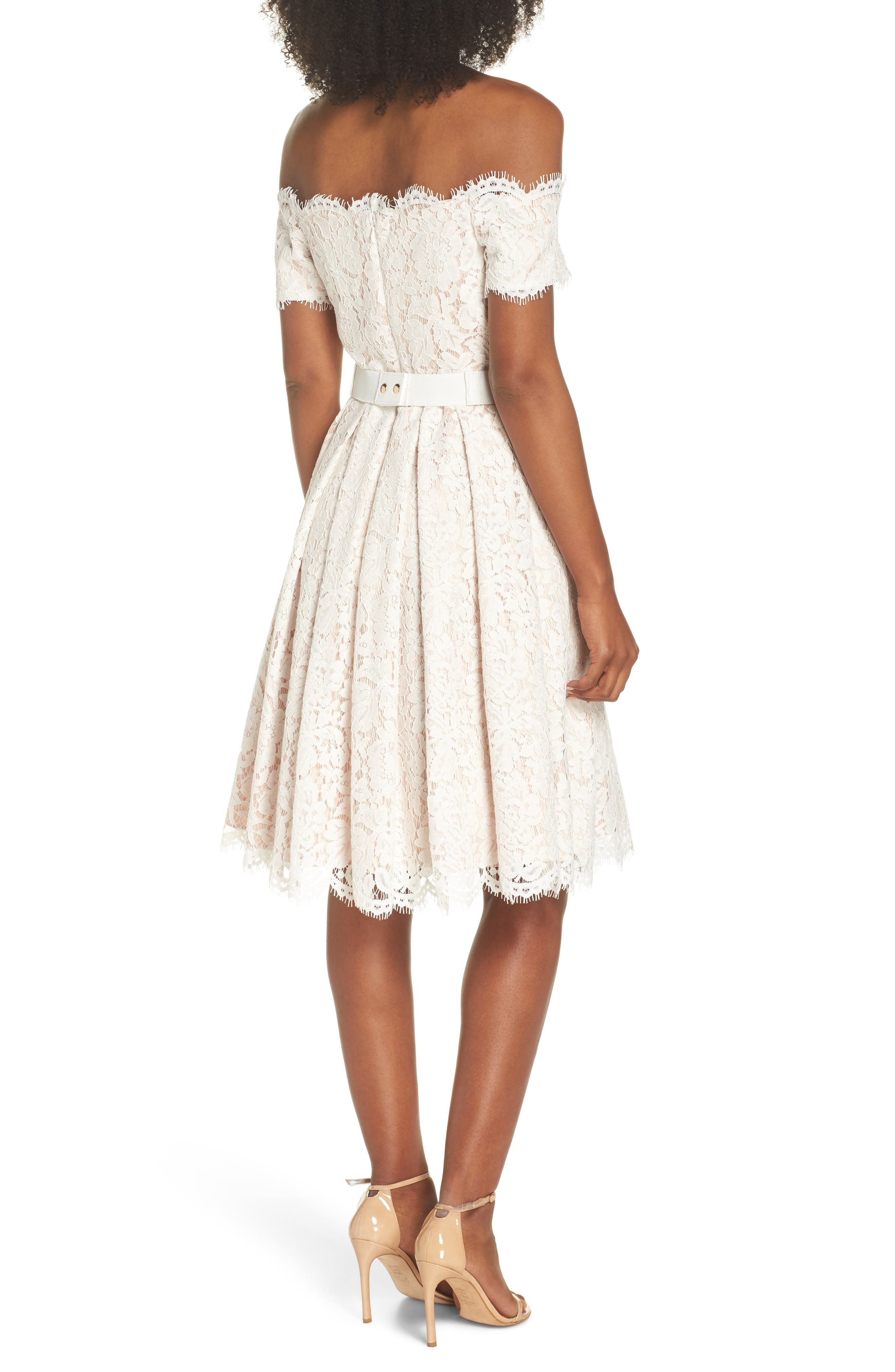 Embellished Lace Fit & Flare Dress,                             Alternate thumbnail 2, color,                             Ivory