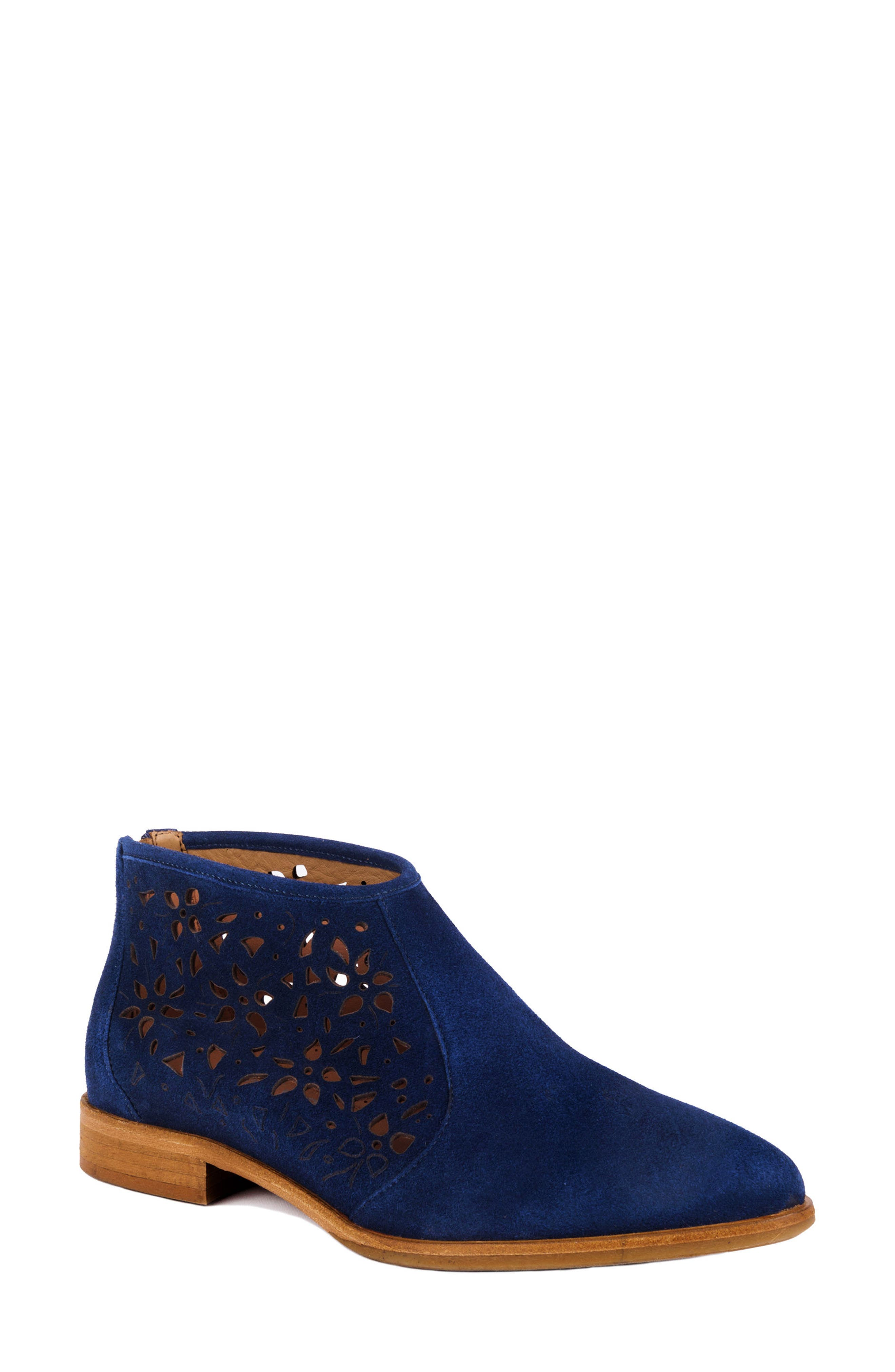 Perla Eyelet Detail Bootie,                             Main thumbnail 1, color,                             Navy