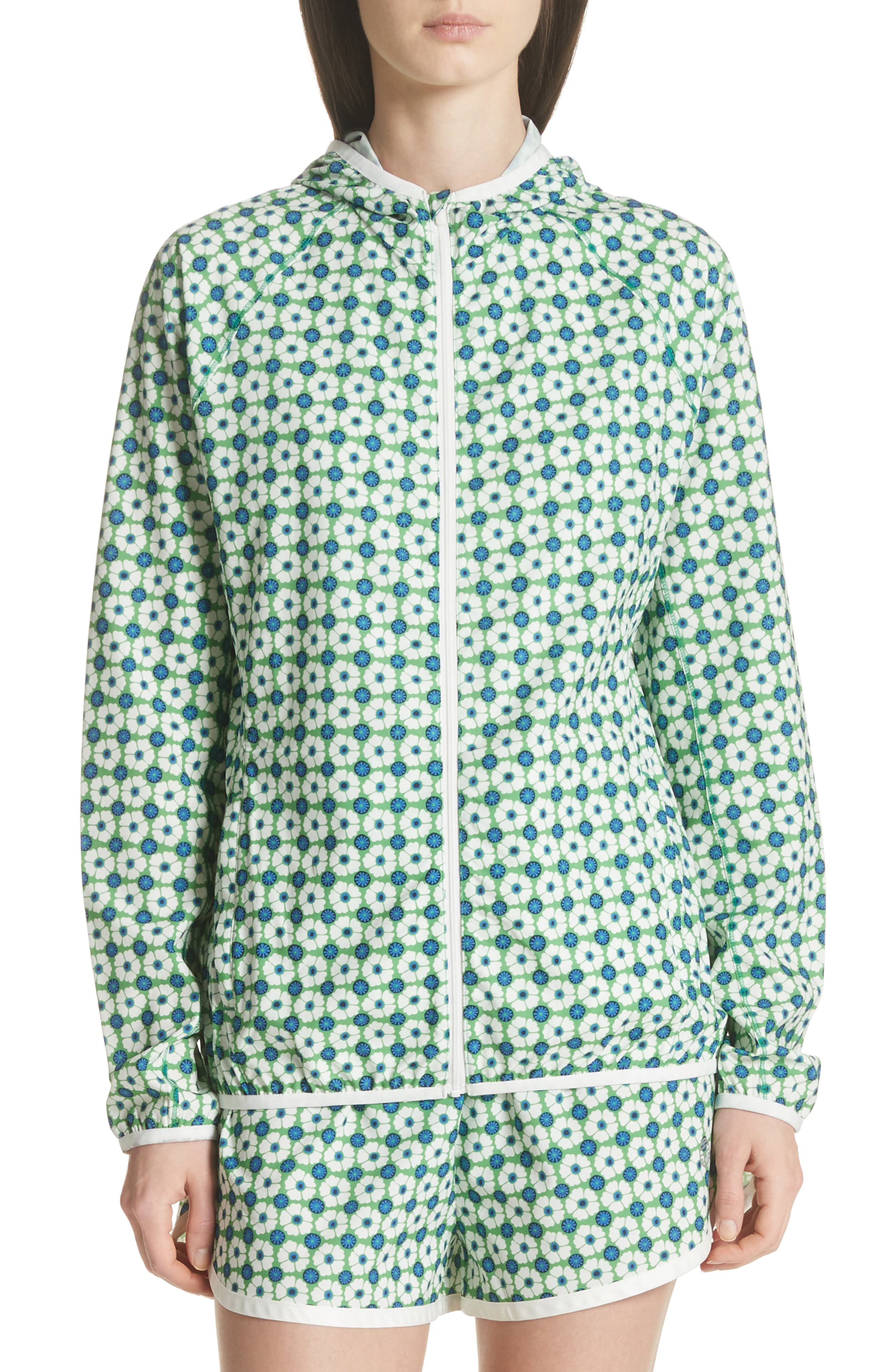 Print Packable Jacket,                             Main thumbnail 1, color,                             Scarf Blue Floral