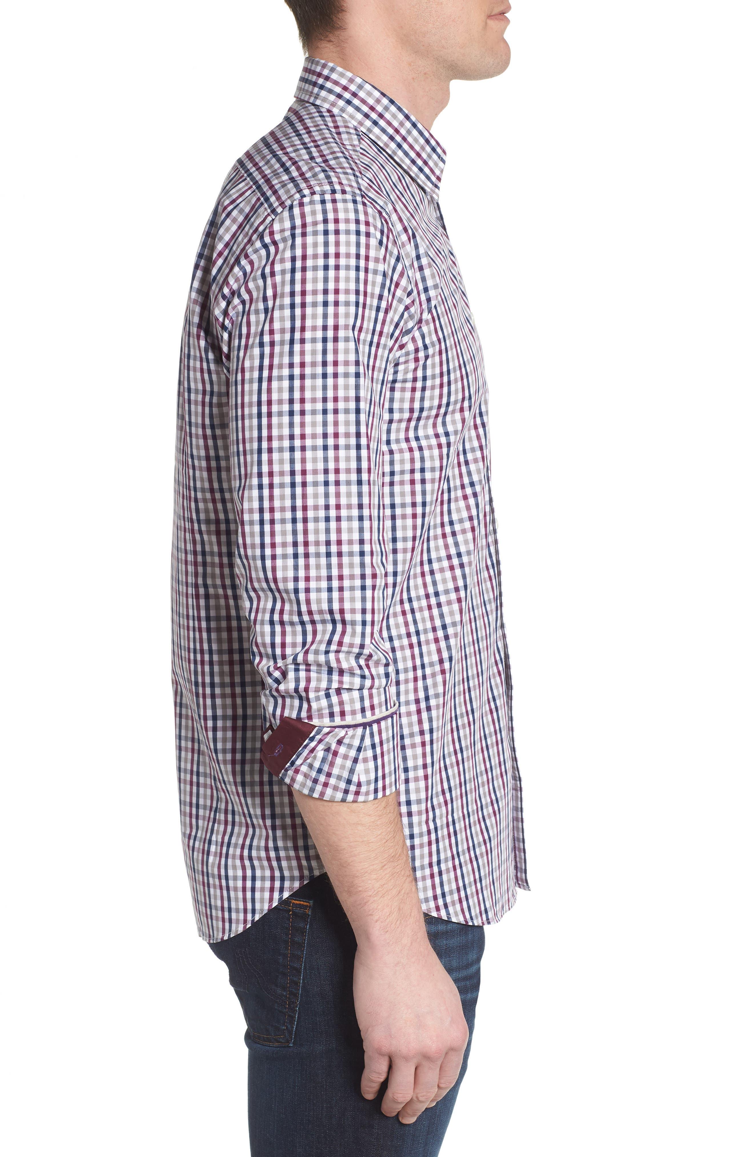 Slim Fit Check Sport Shirt,                             Alternate thumbnail 3, color,                             Dark Red
