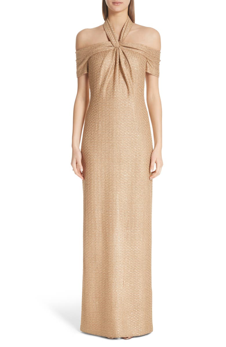 Twisted Neck Band Column Gown