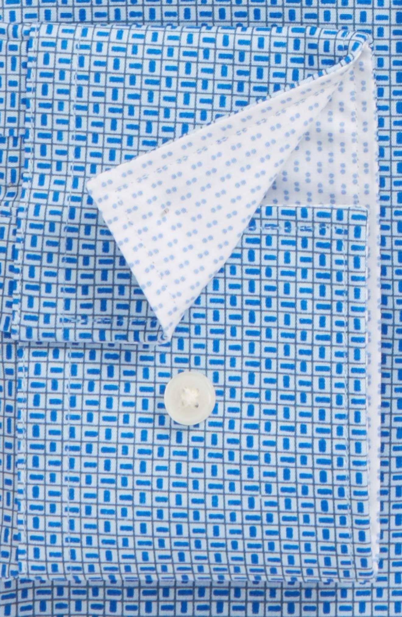 Porsh Slim Fit Check Dress Shirt,                             Alternate thumbnail 2, color,                             Blue