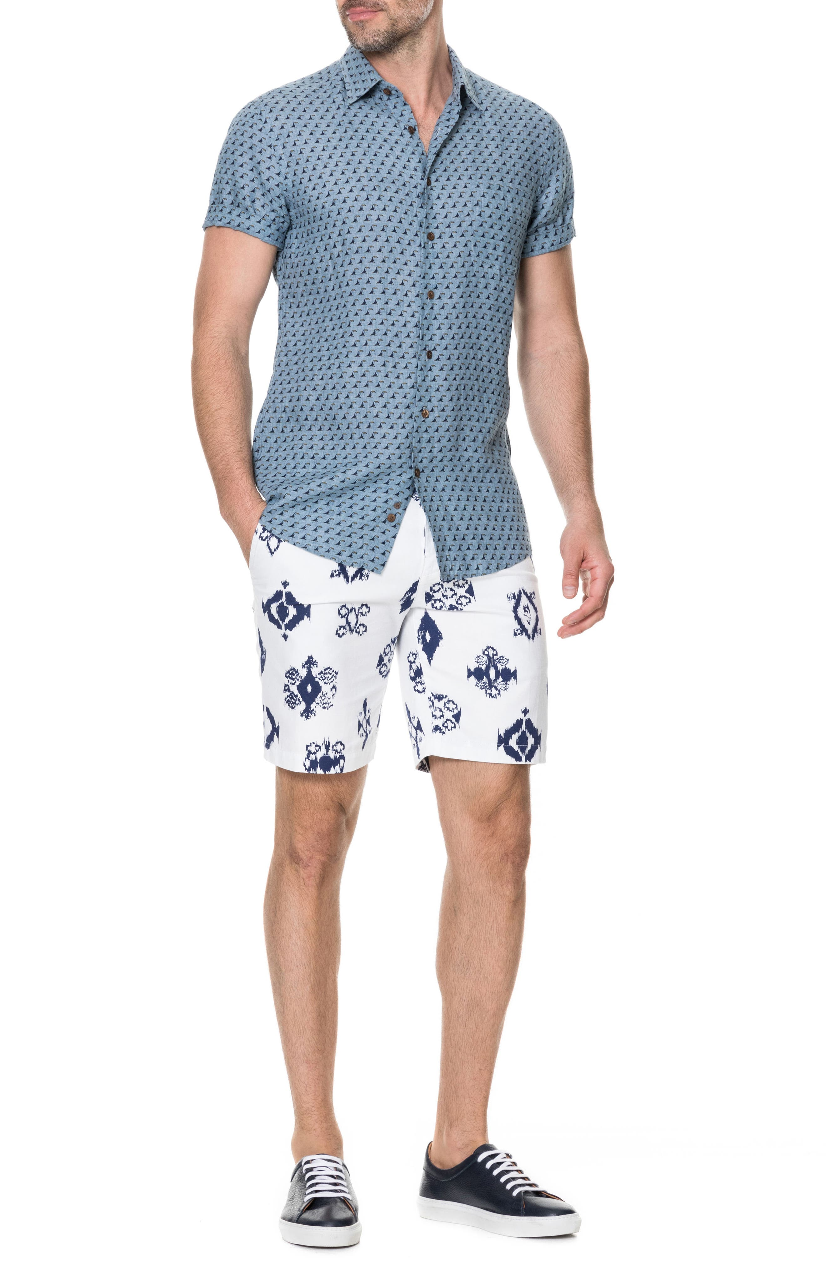 York Bay Slim Fit Print Linen Sport Shirt,                             Alternate thumbnail 5, color,                             Stonewash