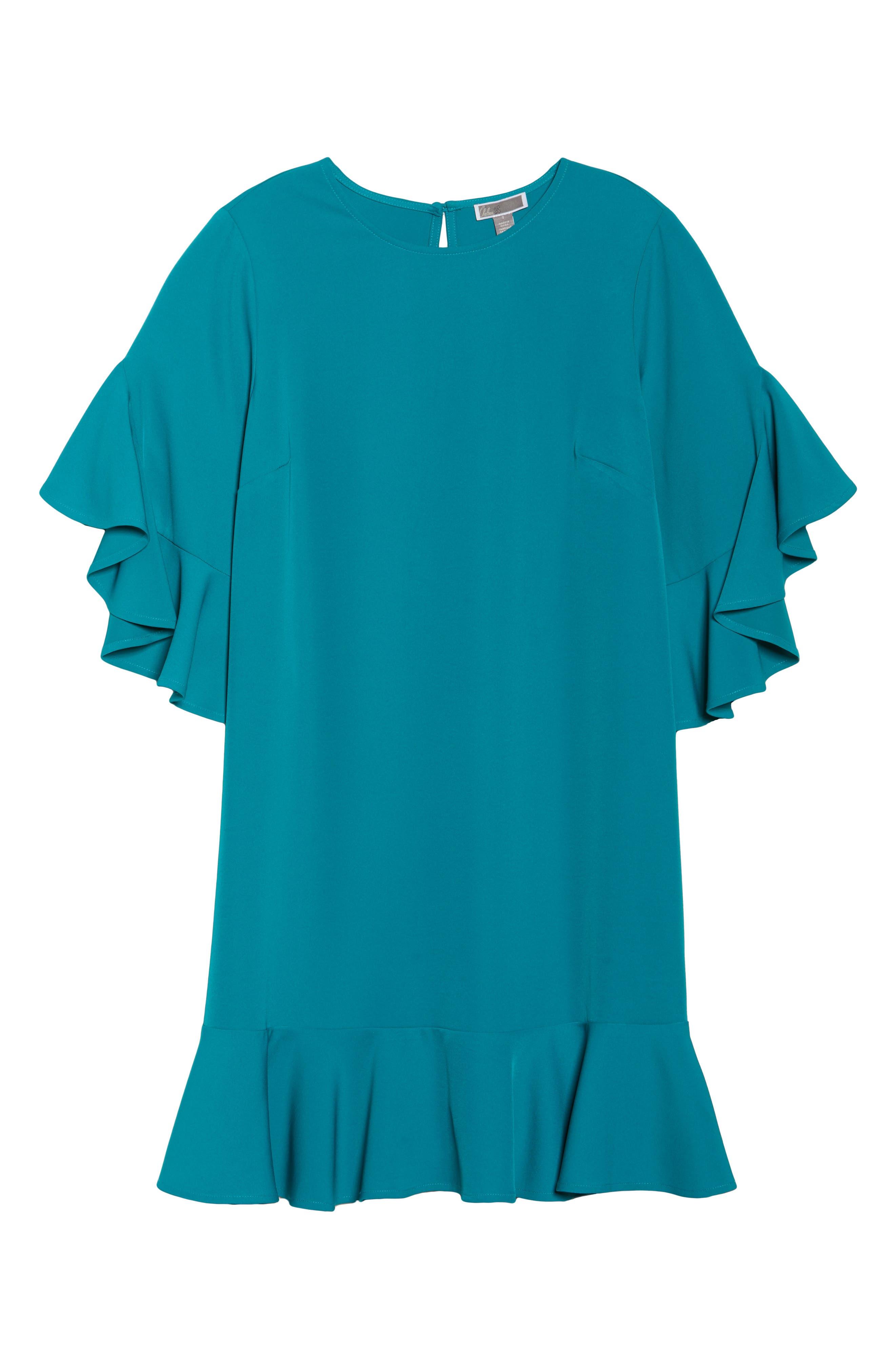 Flounce Hem Shift Dress,                             Alternate thumbnail 6, color,                             Teal Harbor