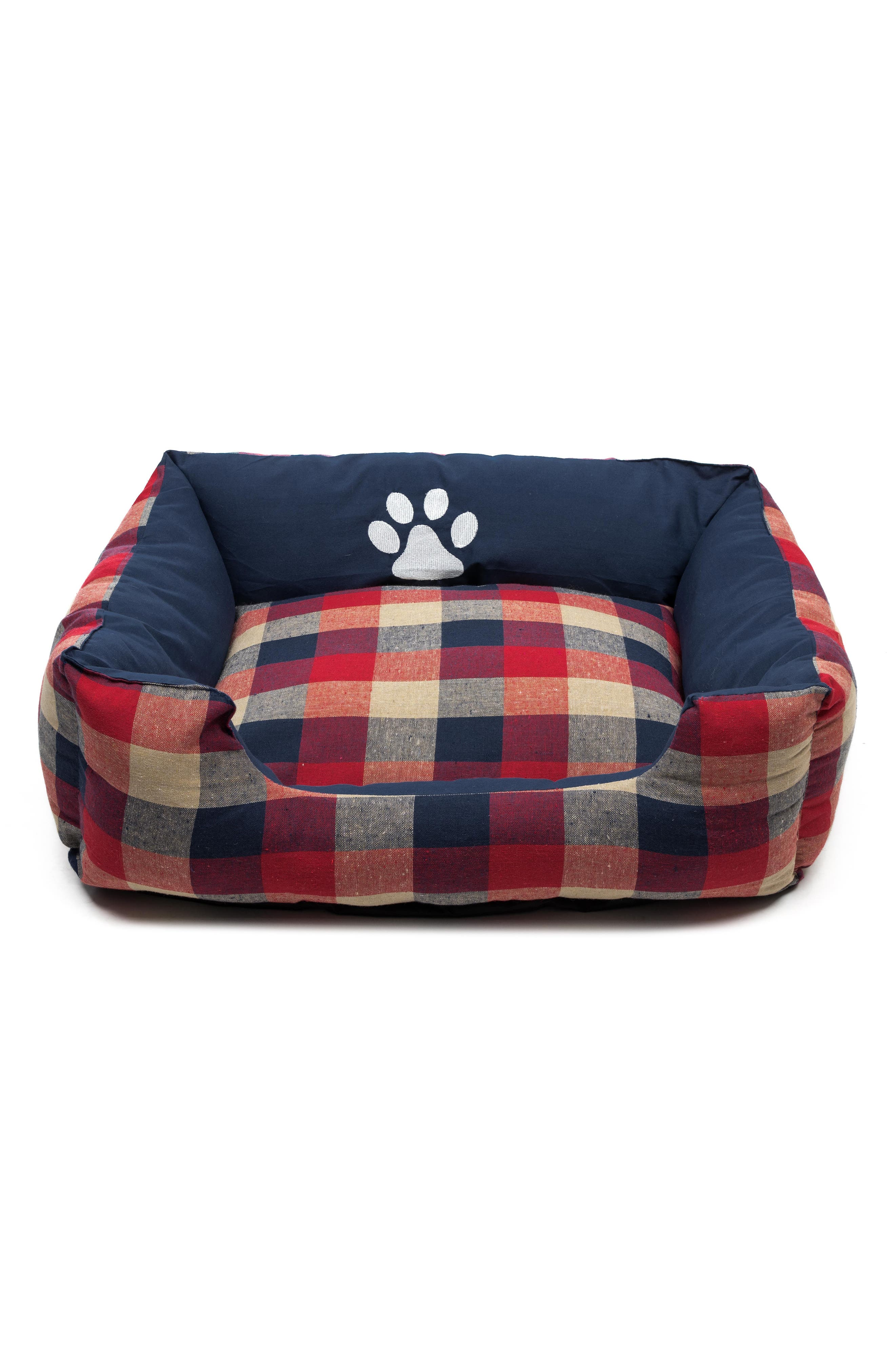 Hasley Square Pet Bed,                         Main,                         color, Red-Navy
