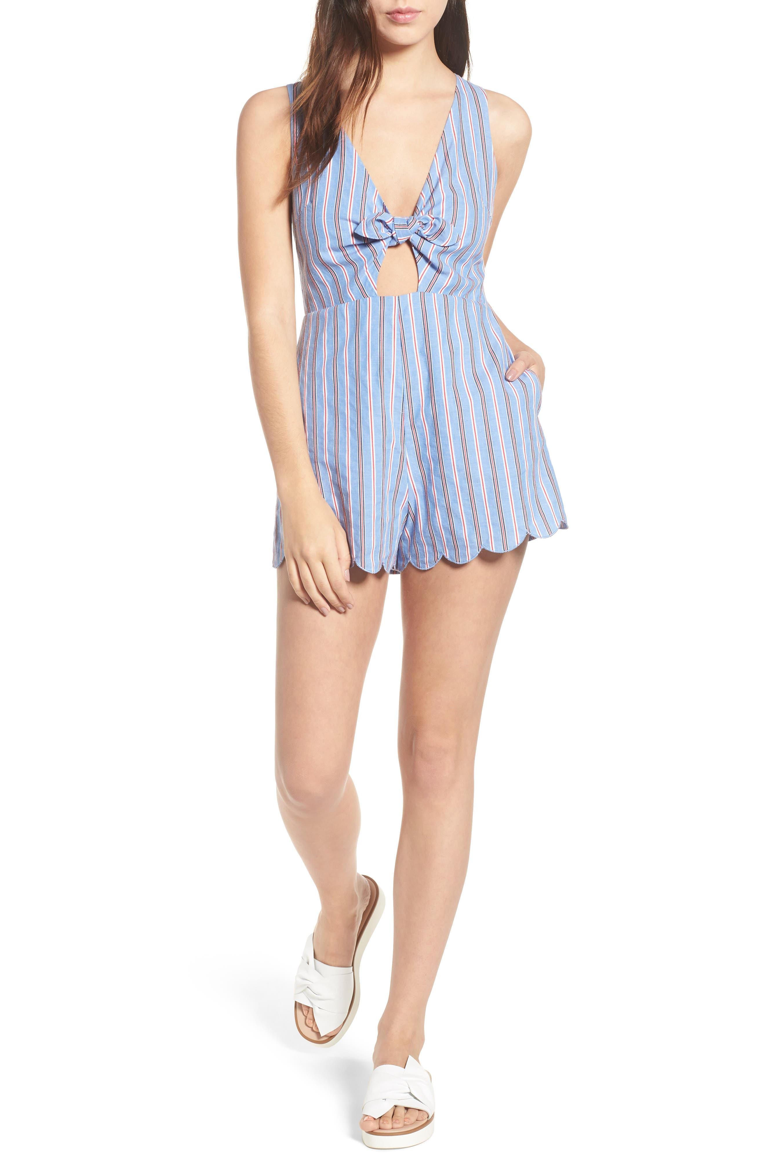 Knot Front Romper,                             Main thumbnail 1, color,                             Red/ Blue Stripe