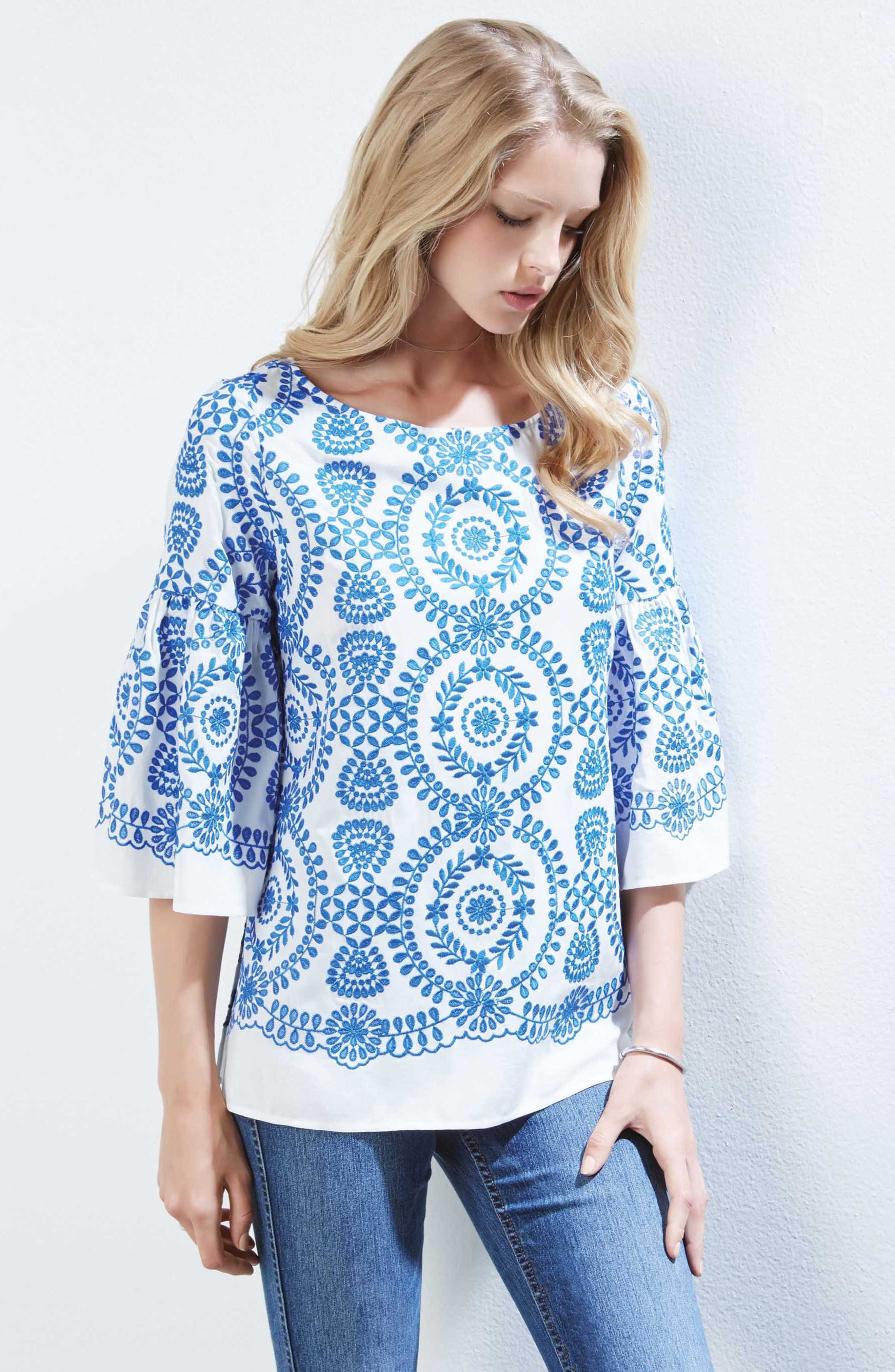 Embroidered Medallion Top,                             Alternate thumbnail 3, color,                             Off White