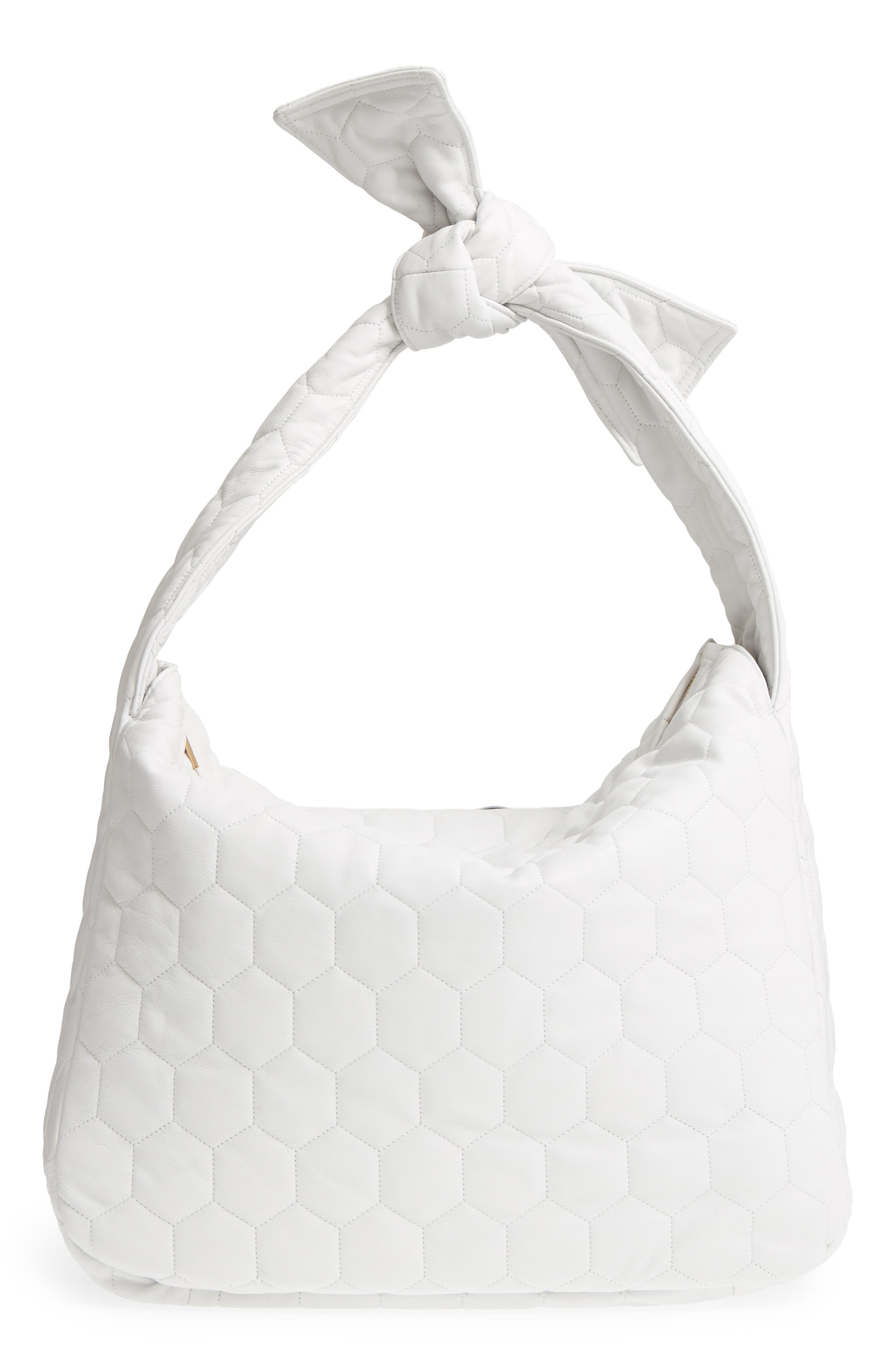 Balloon Leather Shoulder Bag,                             Main thumbnail 1, color,                             White