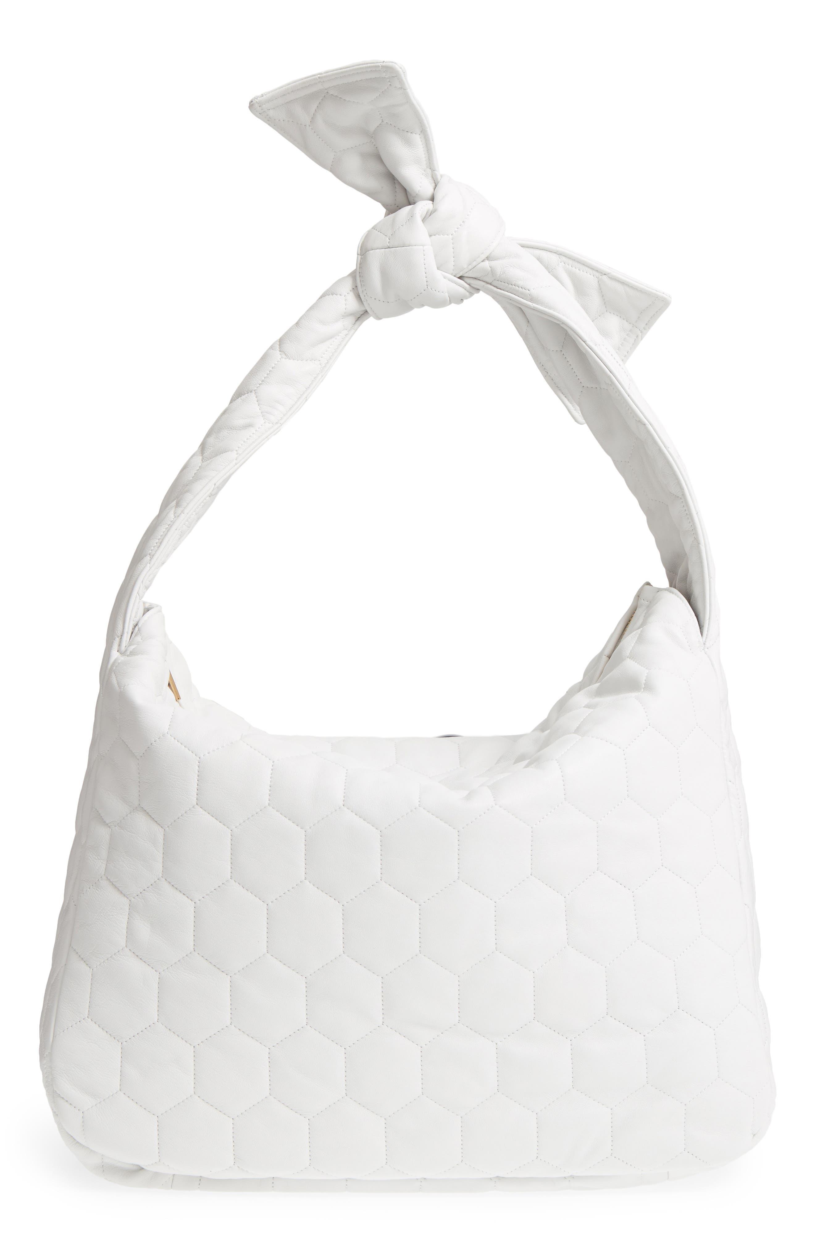 Balloon Leather Shoulder Bag,                         Main,                         color, White
