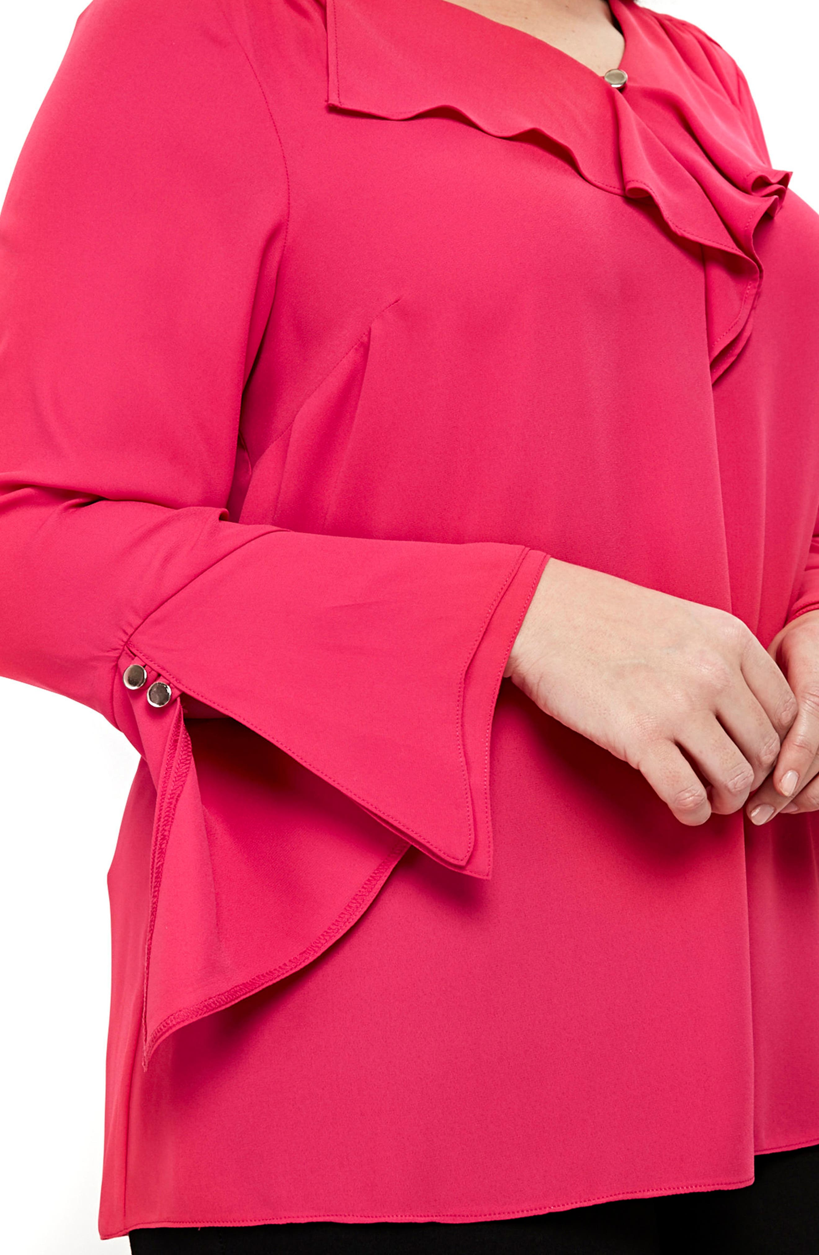 Ruffle Neck Bell Sleeve Top,                             Alternate thumbnail 2, color,                             Pink