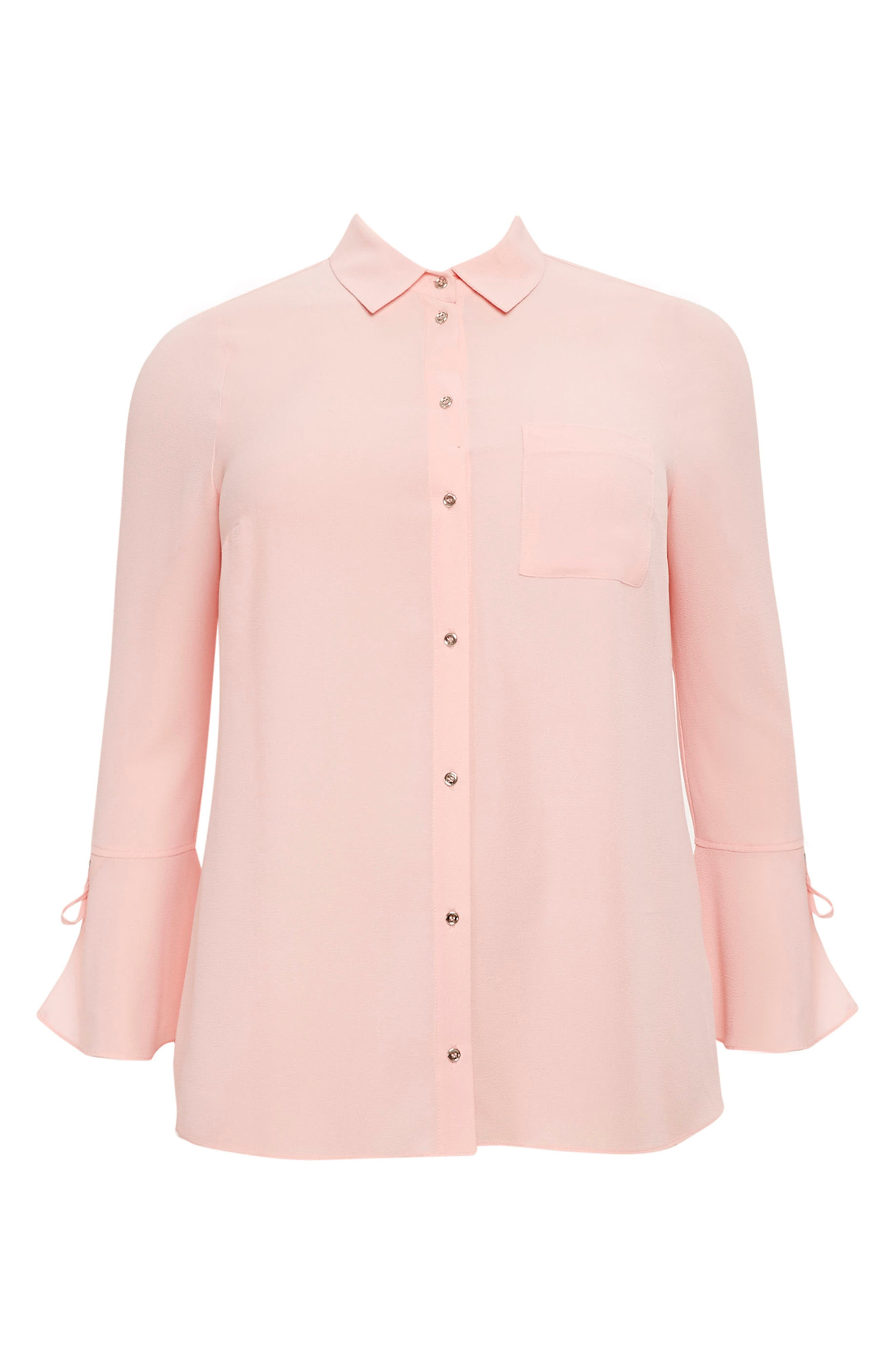 Lace-Up Cuff Shirt,                             Alternate thumbnail 4, color,                             Pale Pink