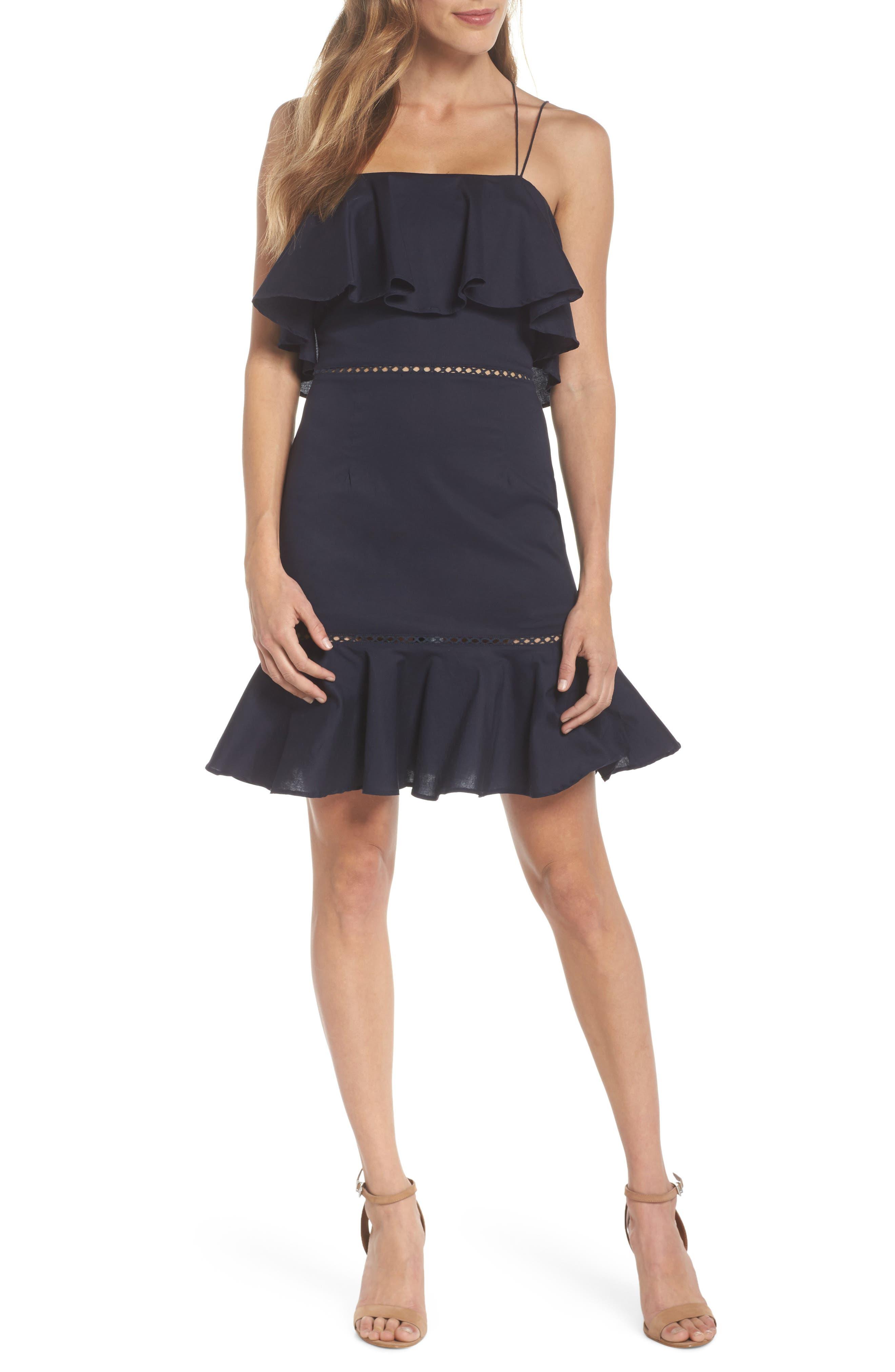Lola Poplin Ruffle Dress,                             Main thumbnail 1, color,                             Navy