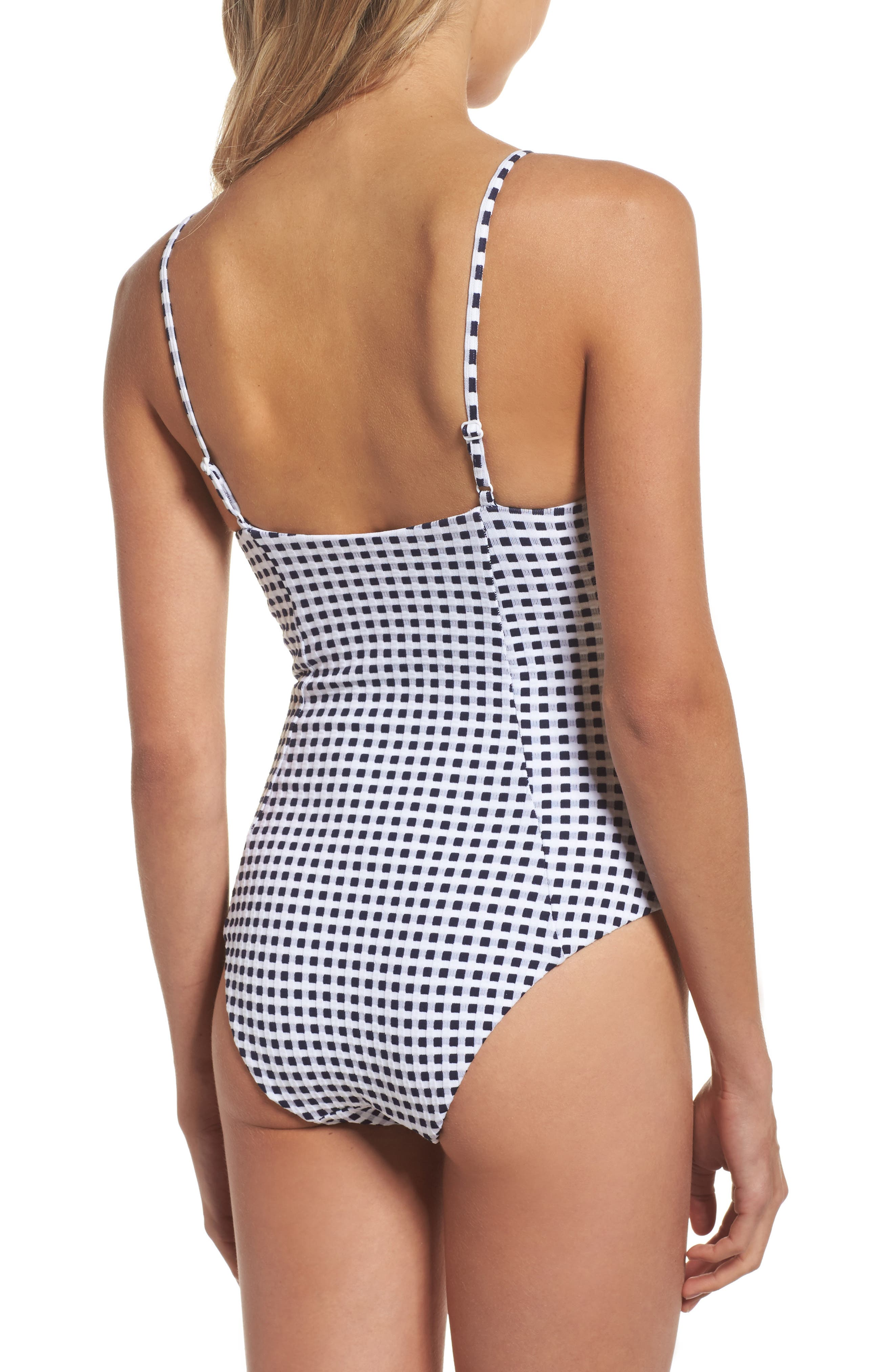 Check One-Piece Swimsuit,                             Alternate thumbnail 3, color,                             Blue Shadow