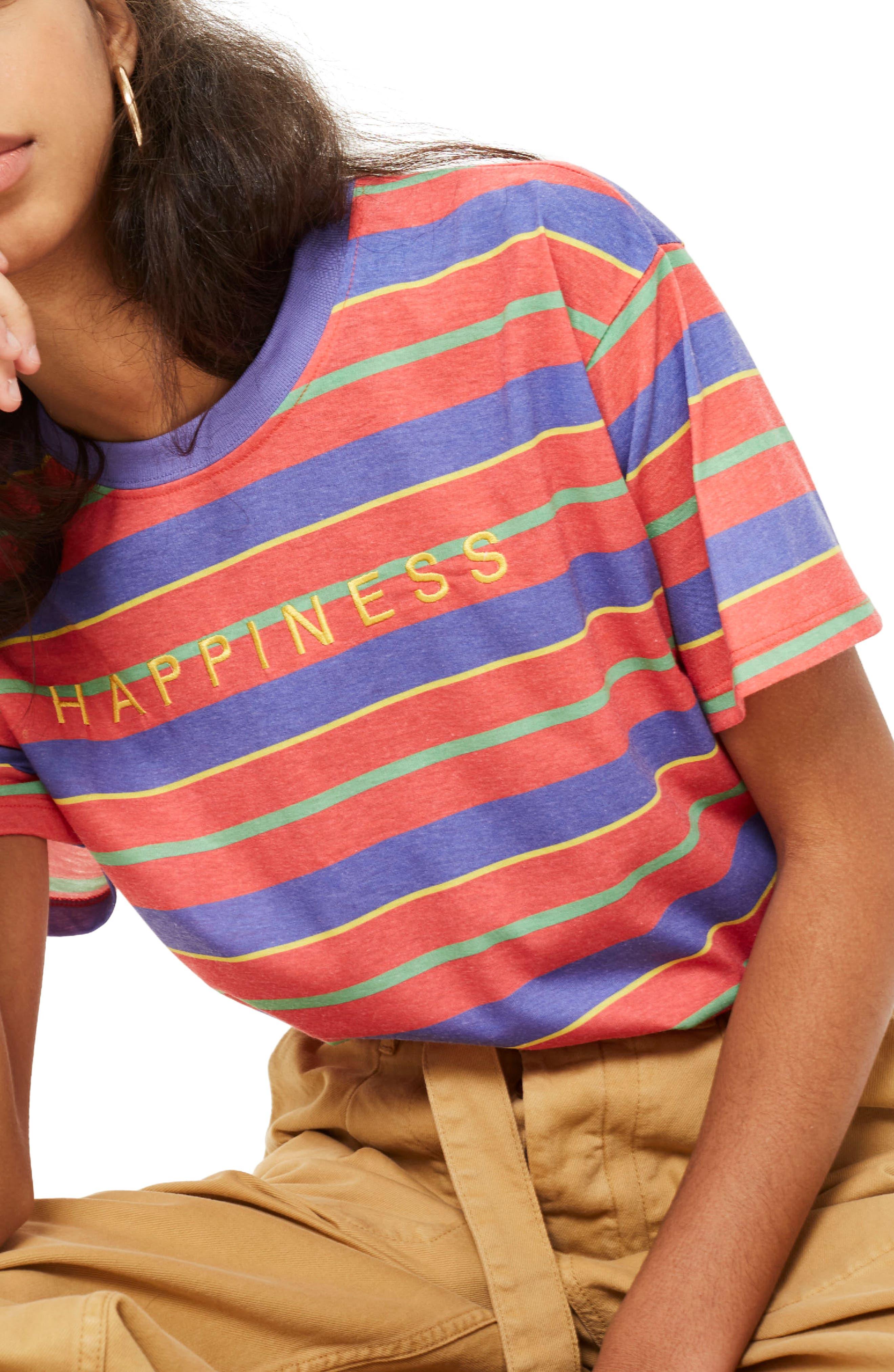 by Tee & Cake Happiness Stripe T-Shirt,                             Main thumbnail 1, color,                             Orange Multi