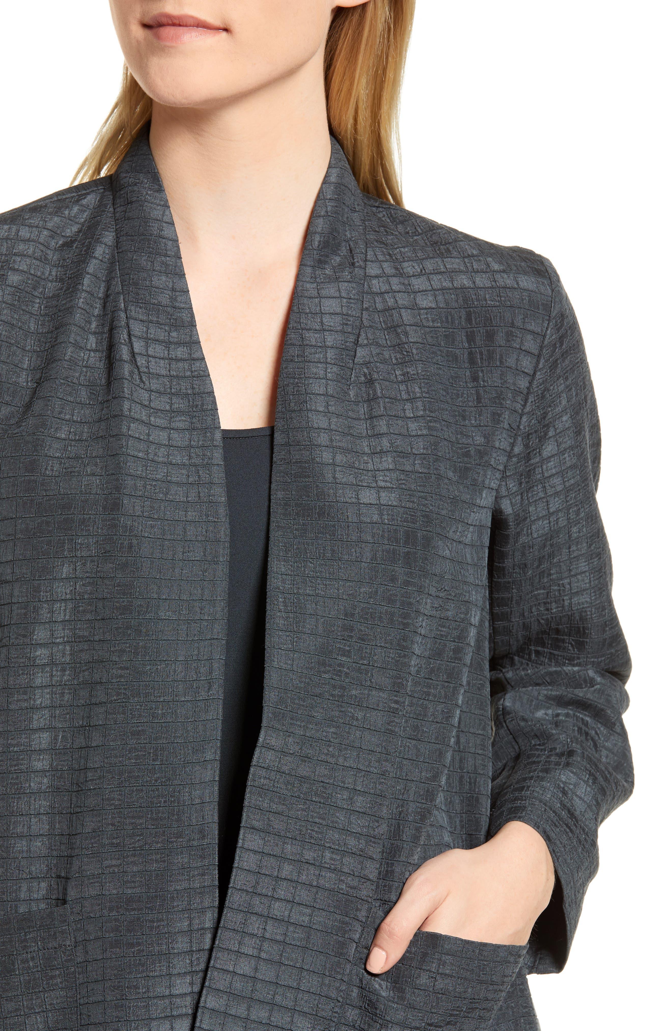 Silk Blend Kimono Jacket,                             Alternate thumbnail 4, color,                             Graphite