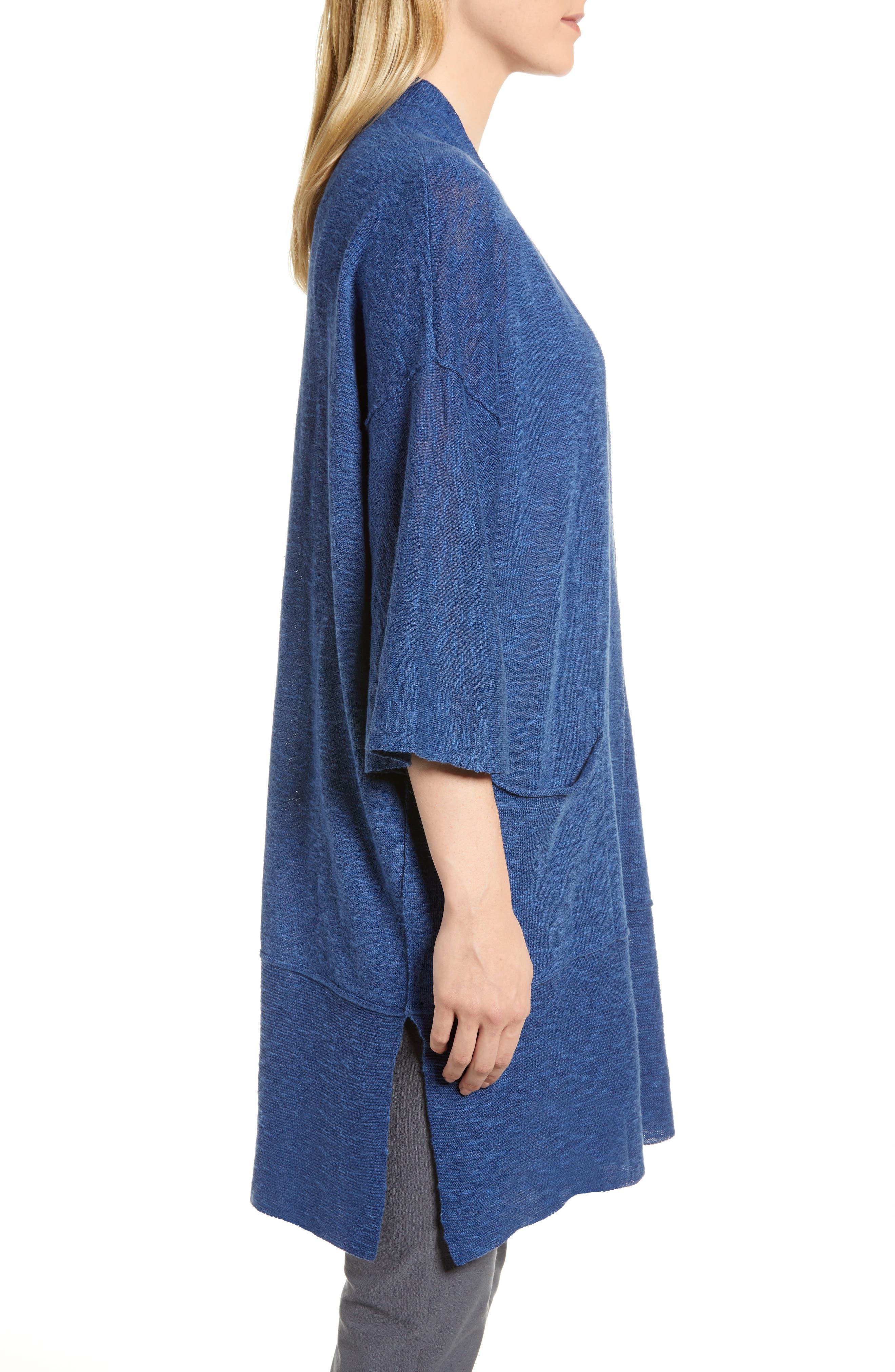 Organic Linen & Cotton Kimono Cardigan,                             Alternate thumbnail 3, color,                             Denim