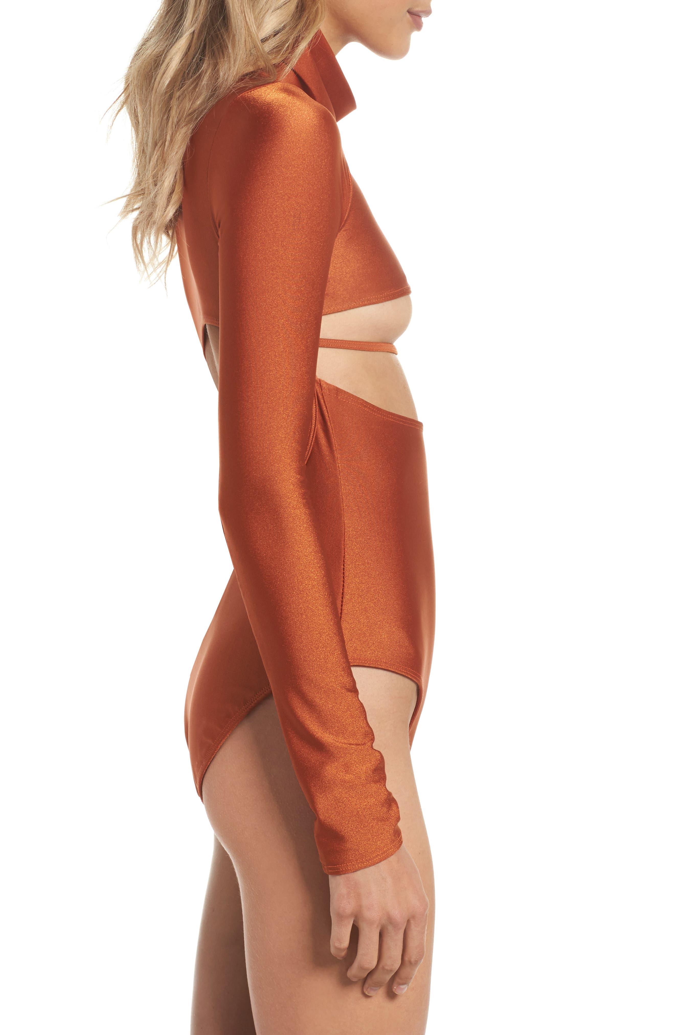 Long Sleeve Bodysuit,                             Alternate thumbnail 3, color,                             Ginger Orange