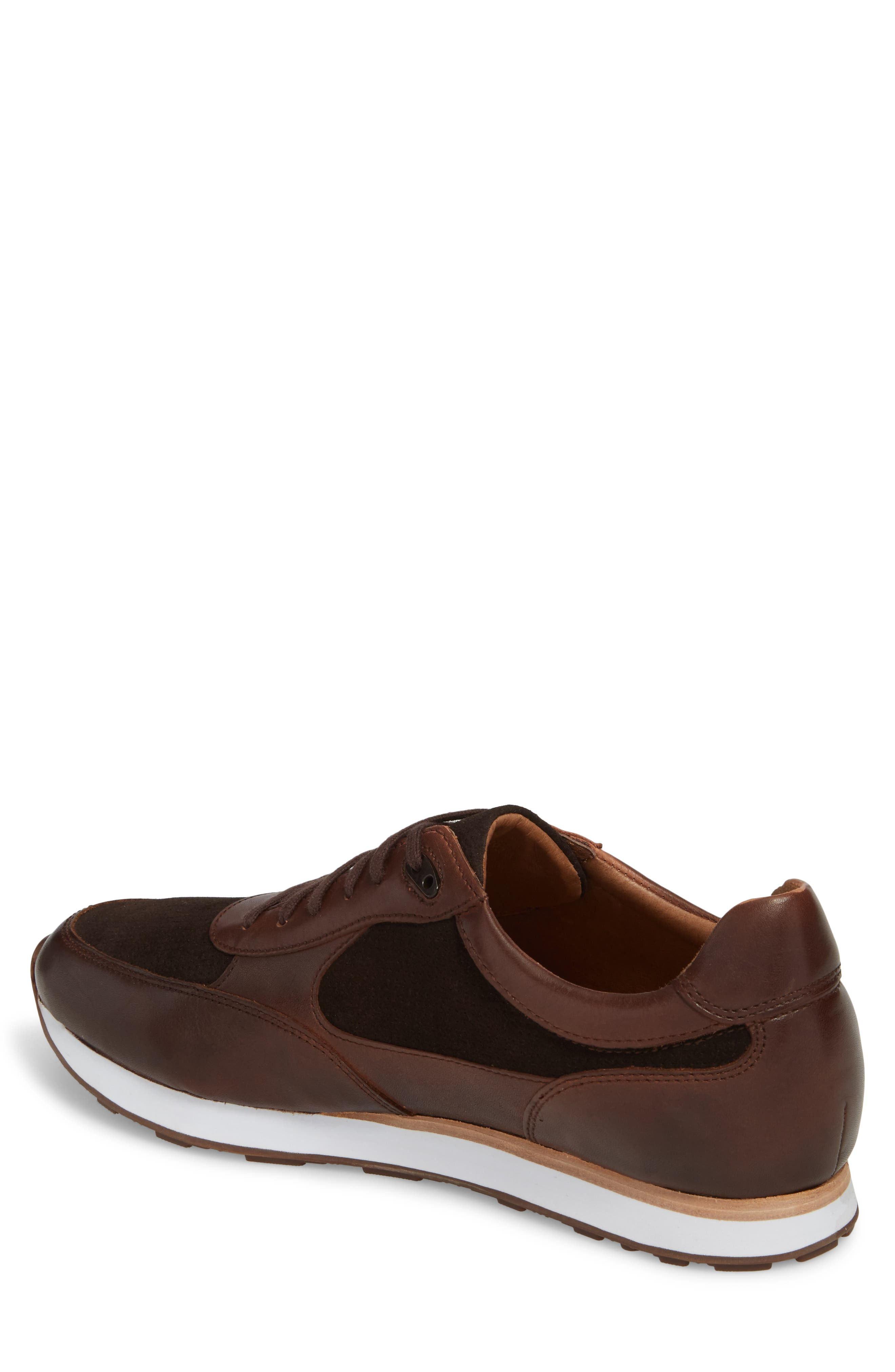 Malek Low Top Sneaker,                             Alternate thumbnail 2, color,                             Mahogany Leather/ Suede