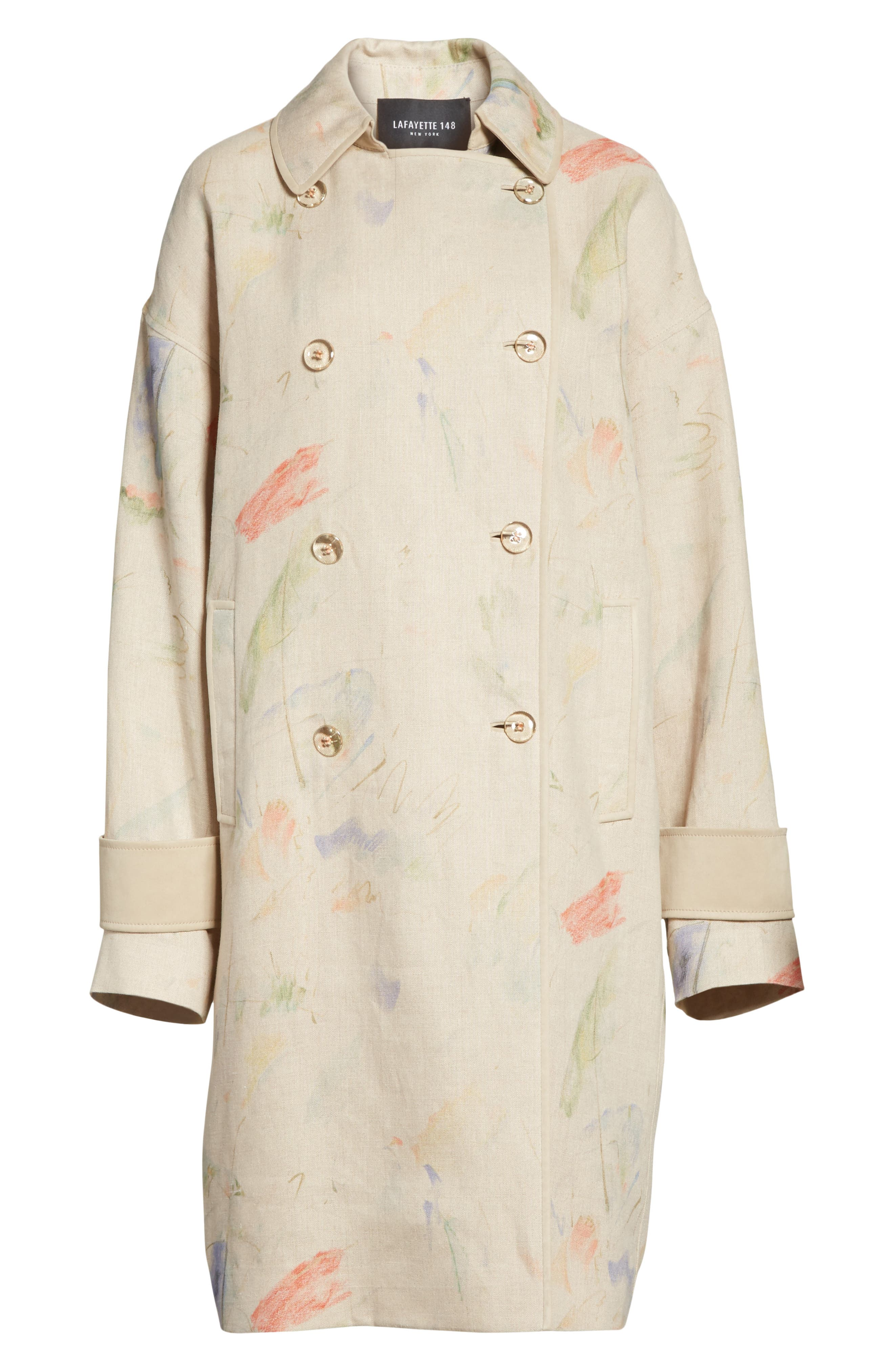 Laurita Linen Trench Coat,                             Alternate thumbnail 6, color,                             Soba Multi