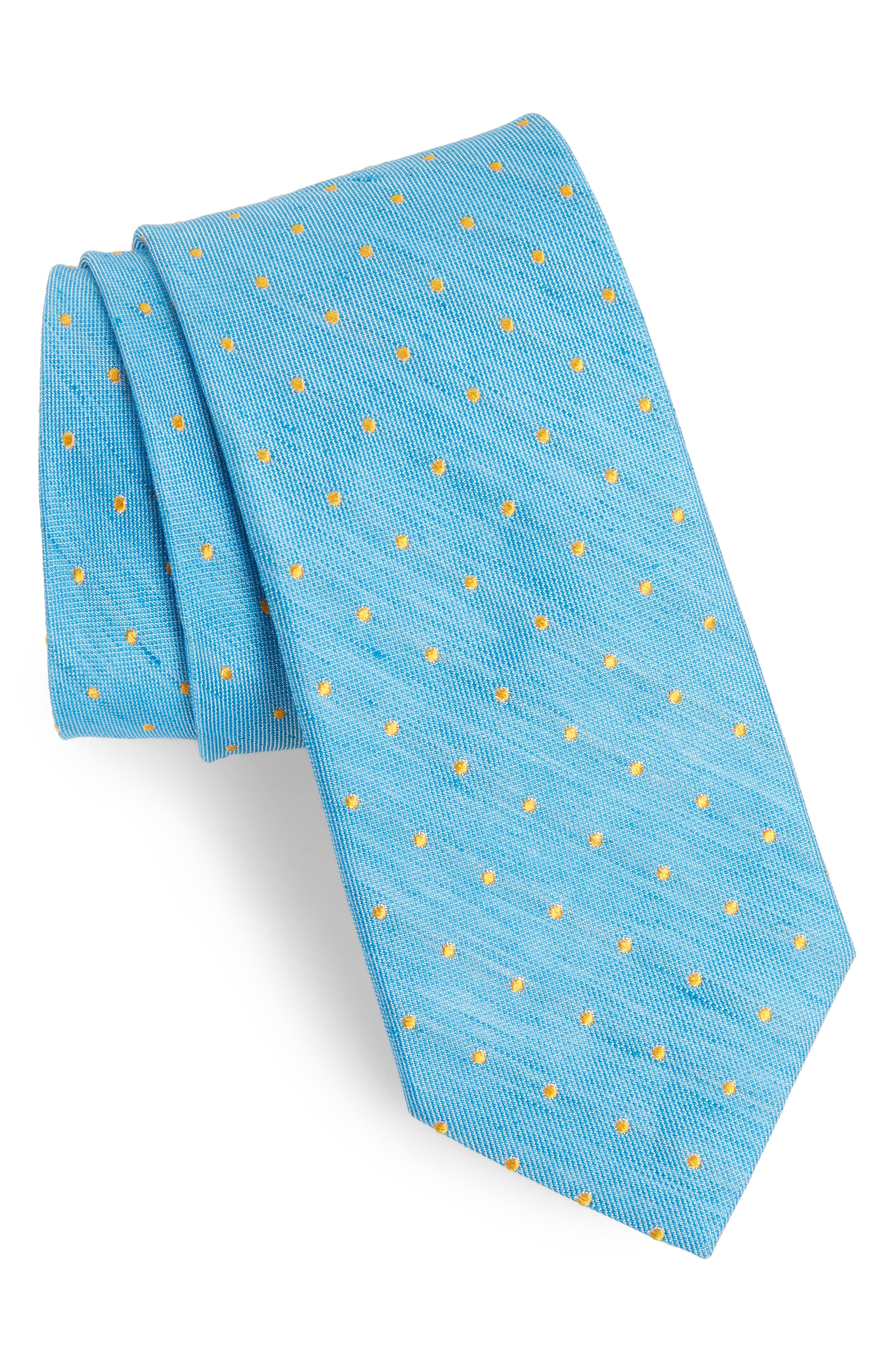 Dot Linen & Silk Tie,                             Main thumbnail 1, color,                             Hawaiian Surf
