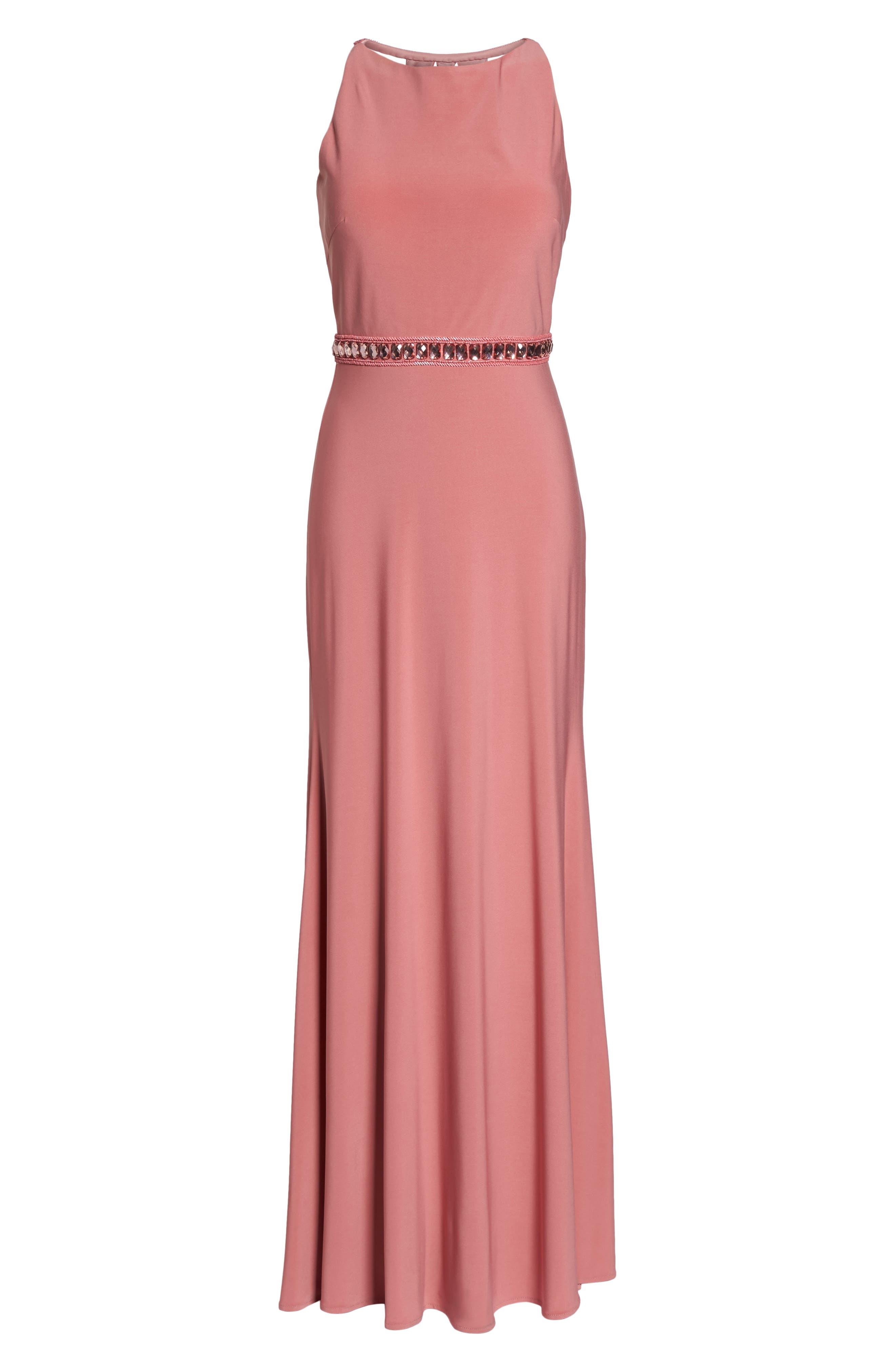 Sparkle Waist Gown,                             Alternate thumbnail 6, color,                             Rose Pink