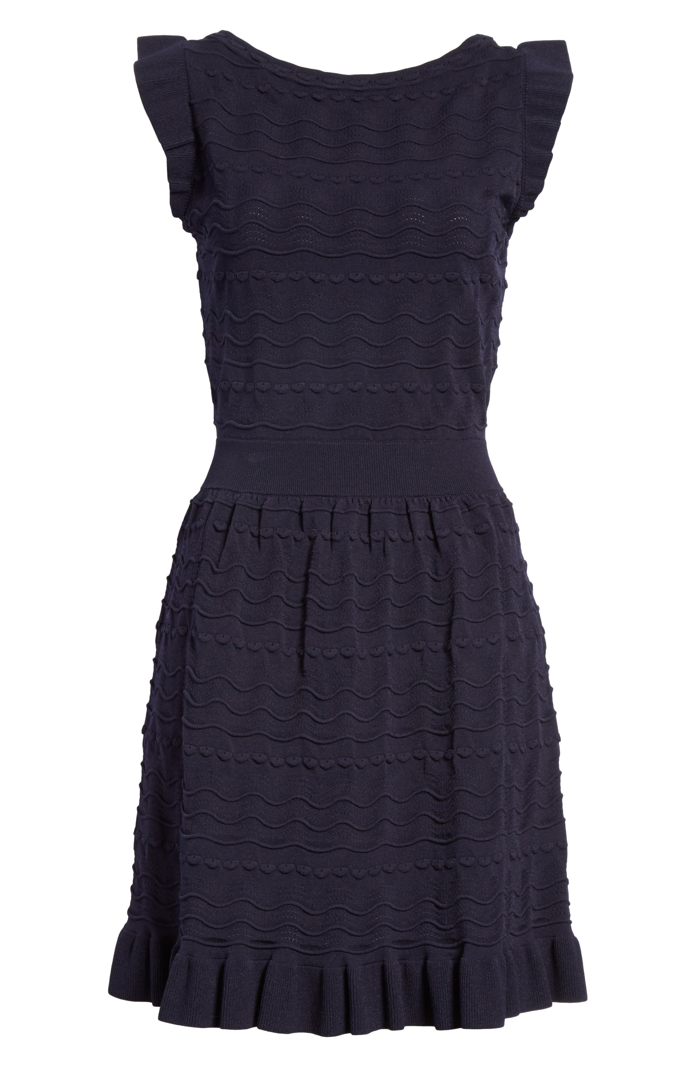 kate spade textured sweater dress,                             Alternate thumbnail 6, color,                             Rich Navy