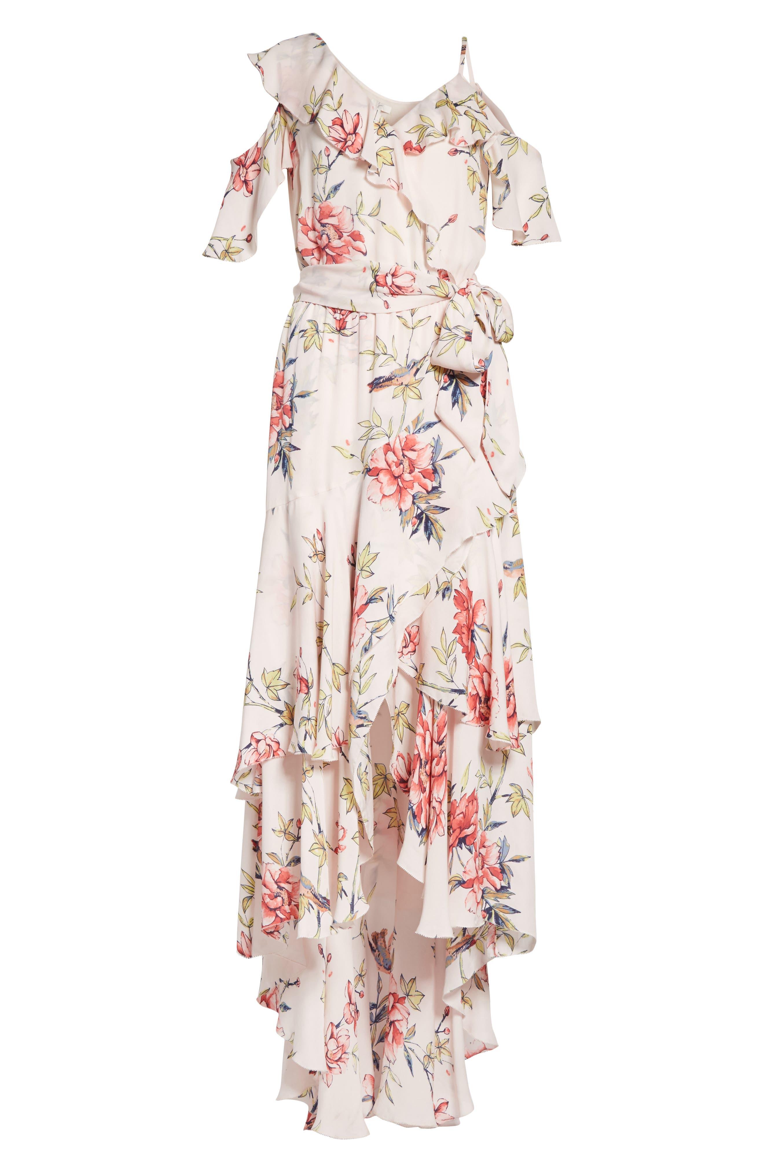 Cristeta Floral Silk Maxi Dress,                             Alternate thumbnail 6, color,                             Rosewater