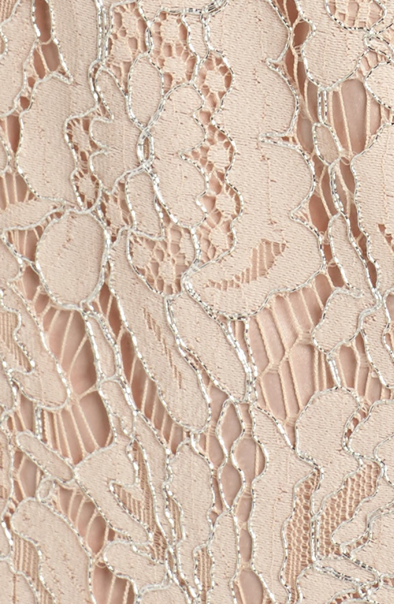 One-Shoulder Lace Gown,                             Alternate thumbnail 5, color,                             Champagne
