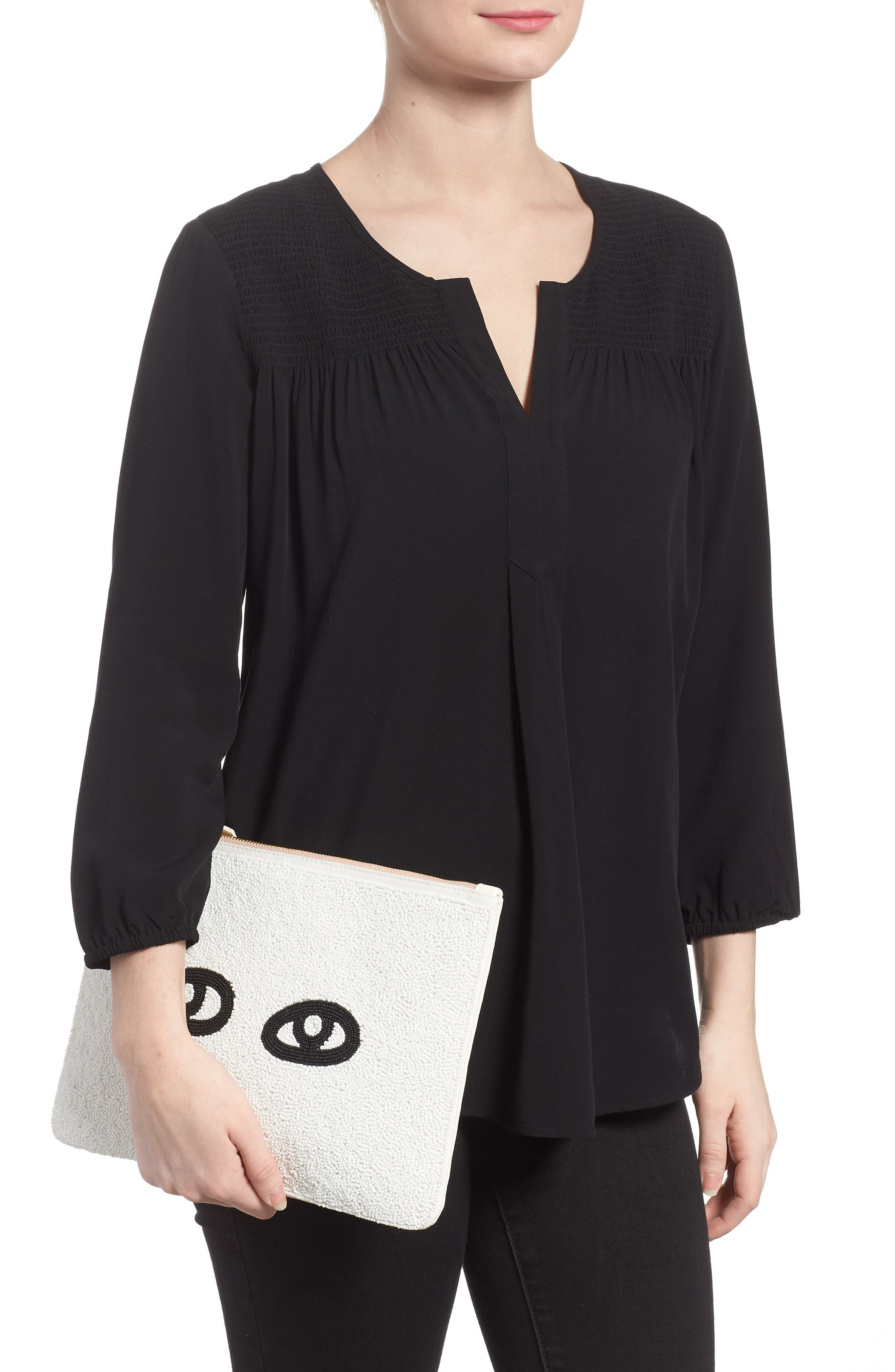 Eyes Printed Nappa Leather Clutch,                             Alternate thumbnail 2, color,                             Beaded White With Black Eyes