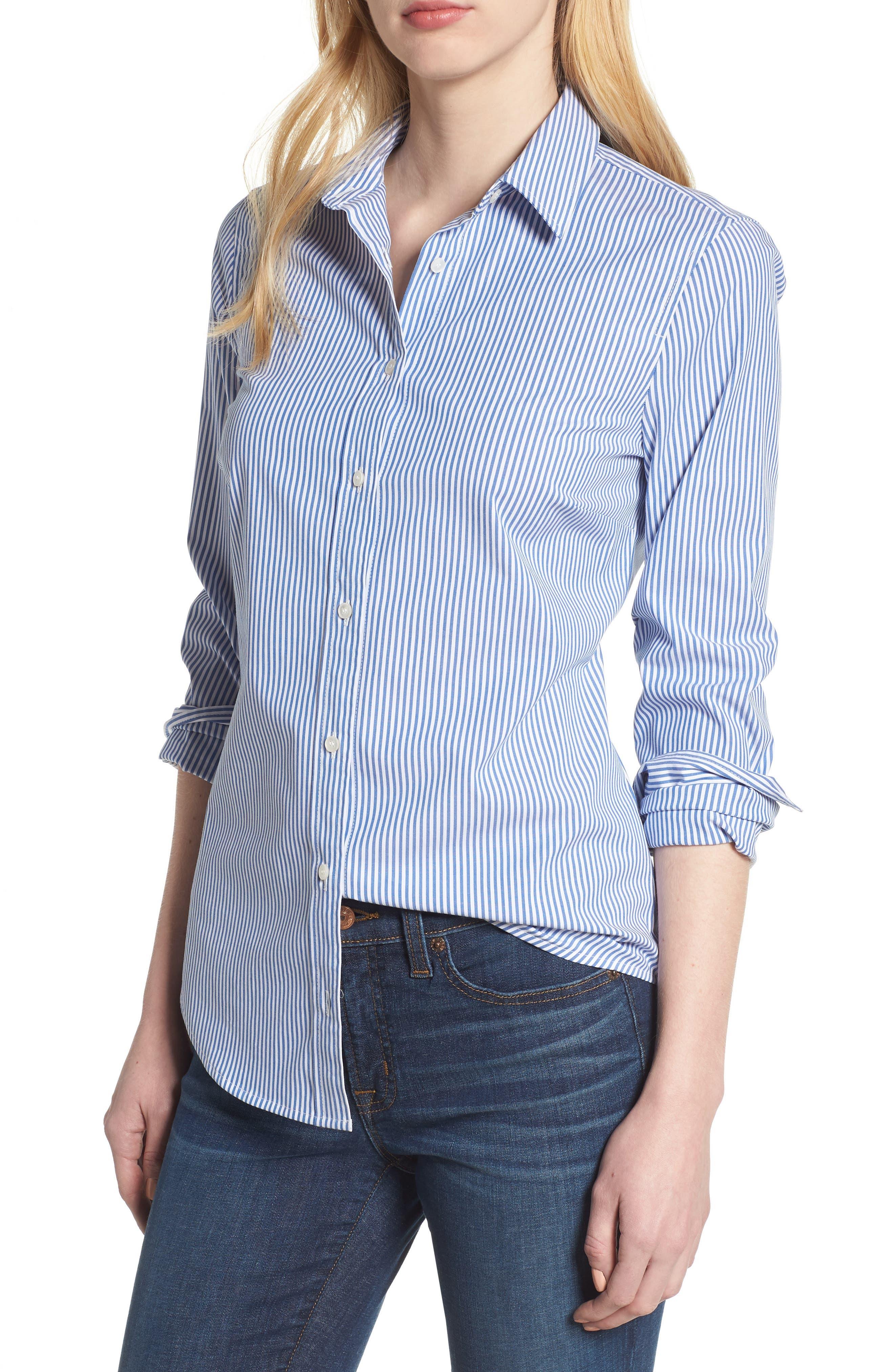 Alternate Image 1 Selected - J.Crew Perfect Classic Stripe Stretch Cotton Shirt (Regular & Petite)