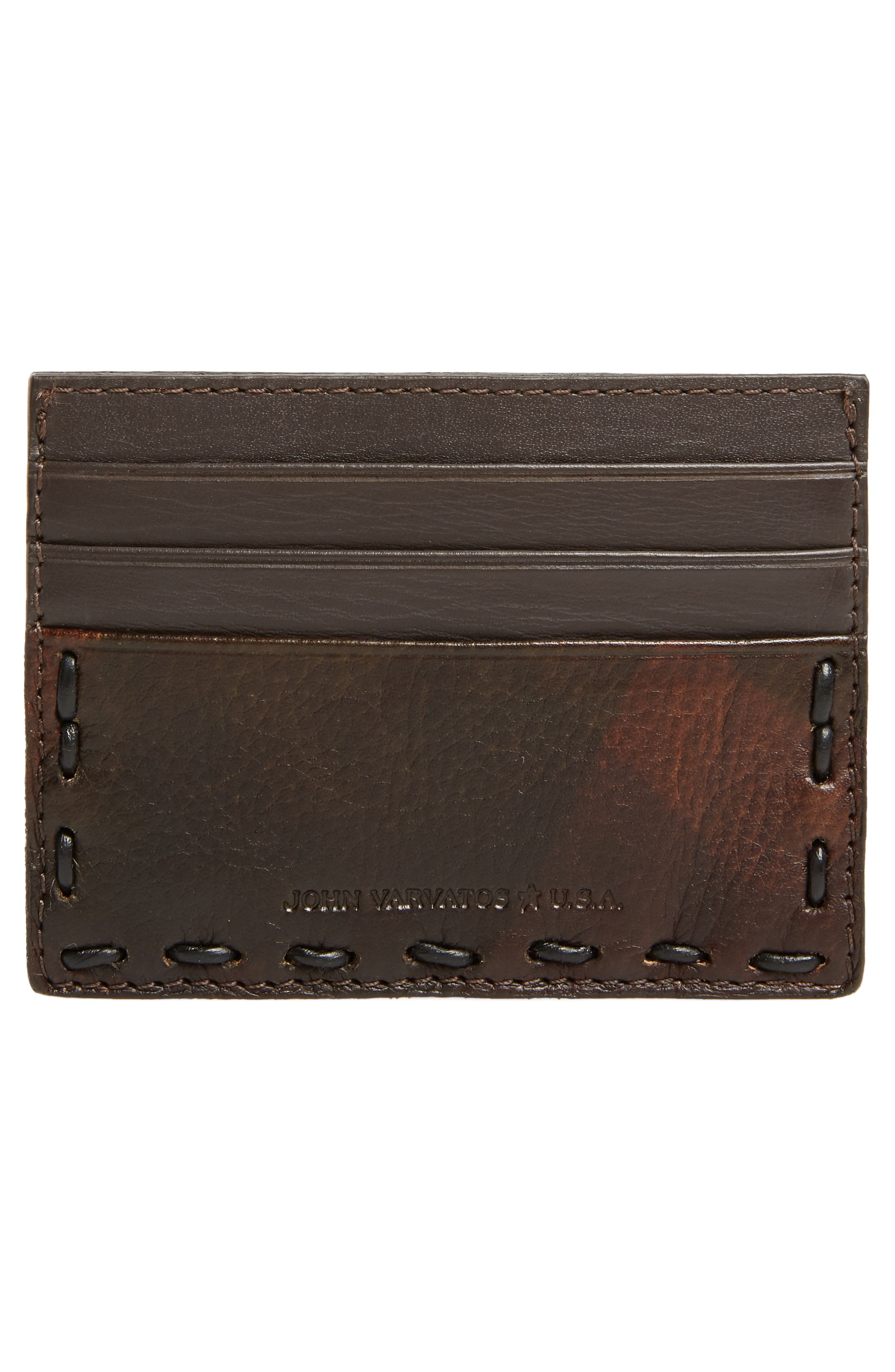 Pickstitched Leather Card Case,                             Alternate thumbnail 2, color,                             Distressed Brown