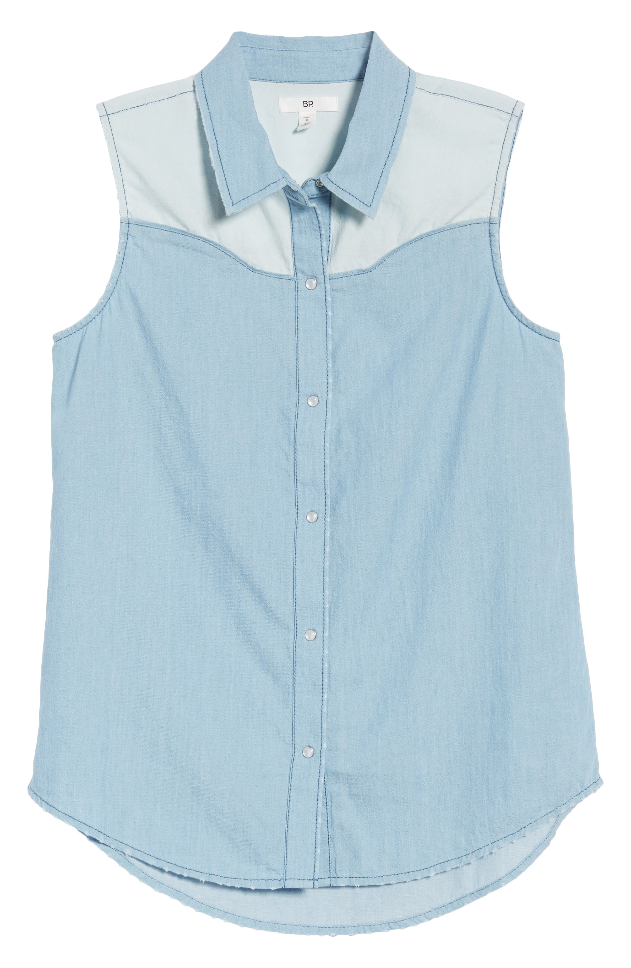 Chambray Western Shirt,                             Alternate thumbnail 7, color,                             Light Wash