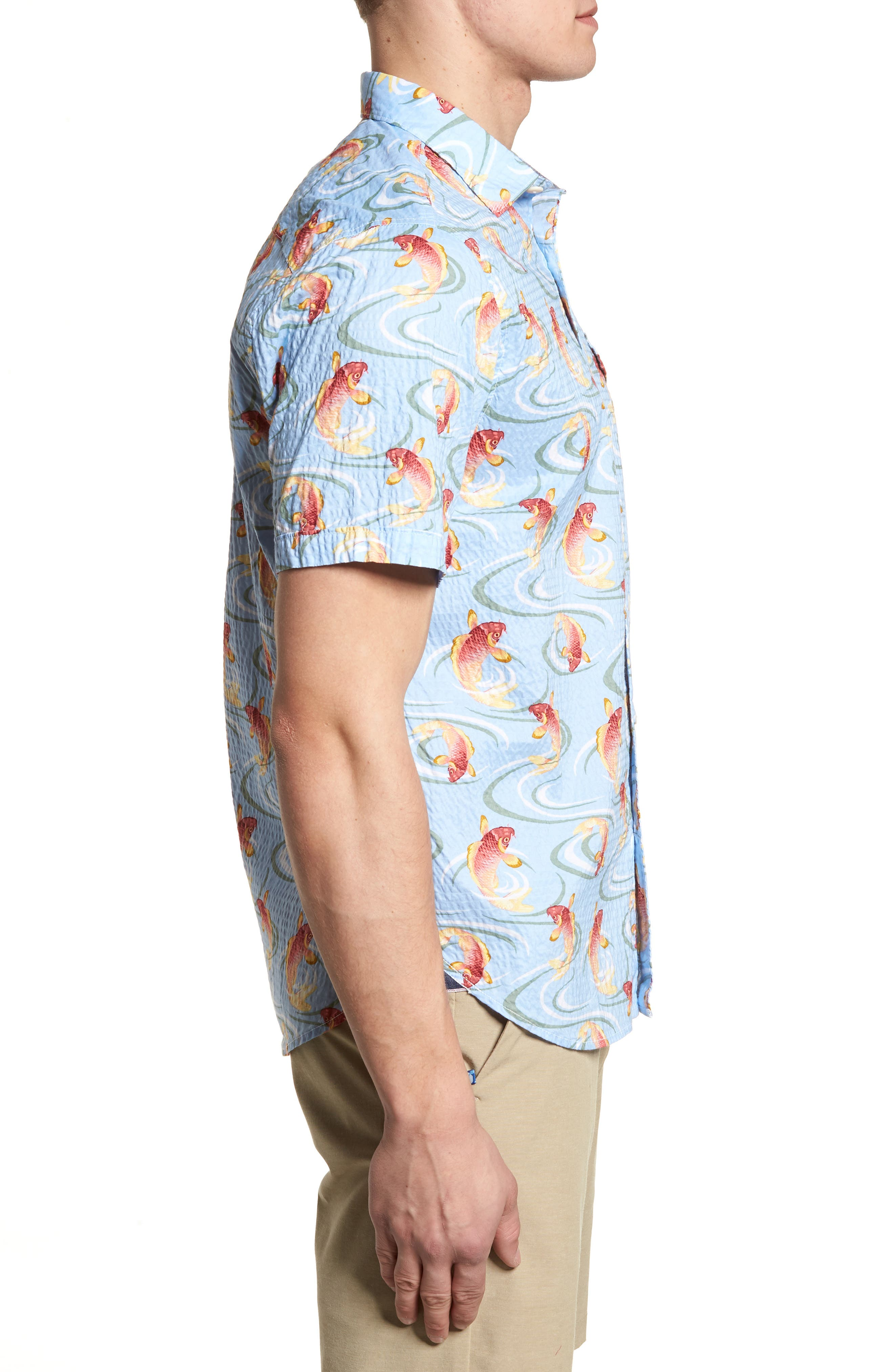 The Kois of Summer Regular Fit Camp Shirt,                             Alternate thumbnail 3, color,                             Light Sky