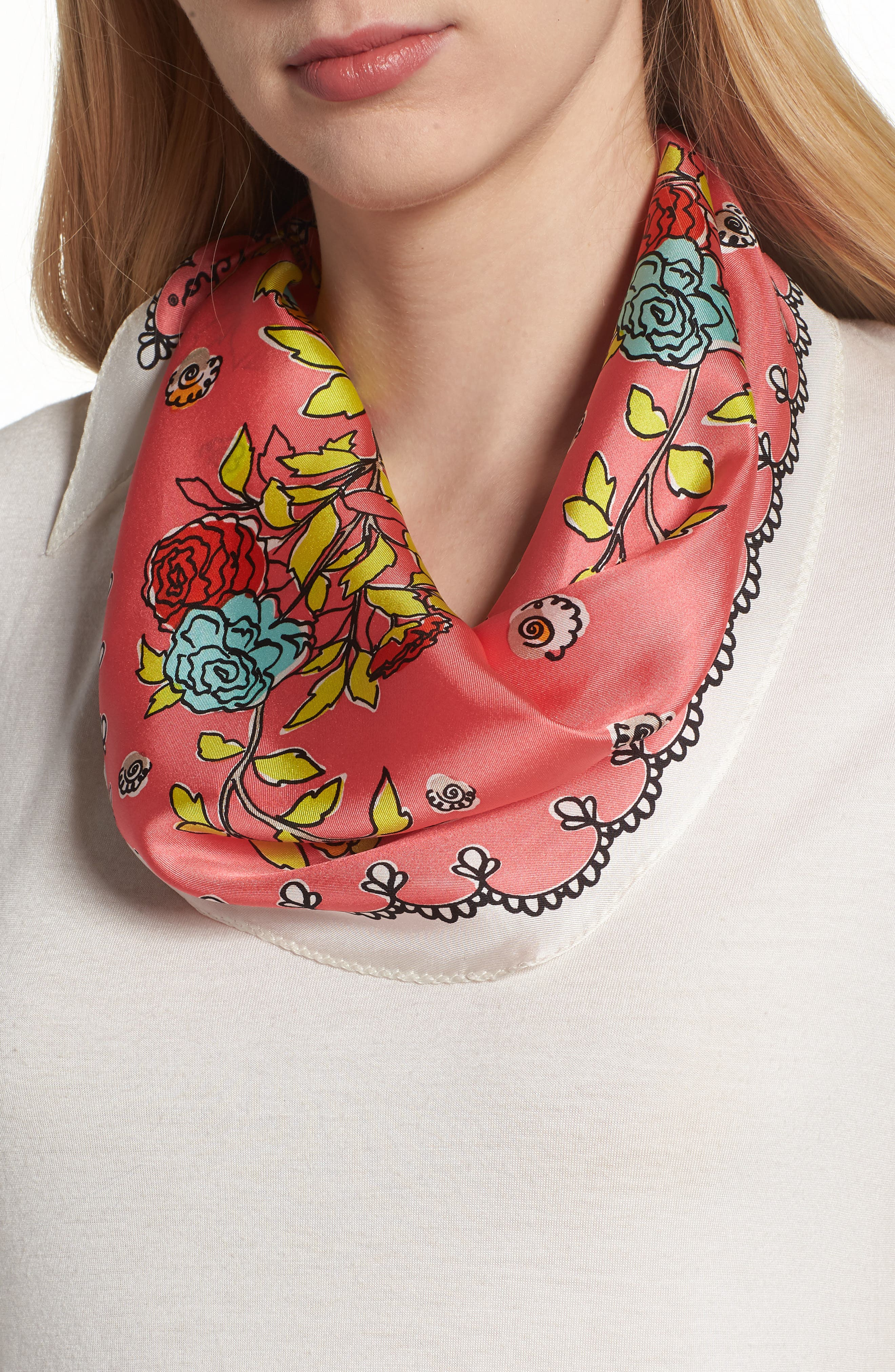 Coastal Floral Diamond Silk Scarf,                             Main thumbnail 1, color,                             Coral