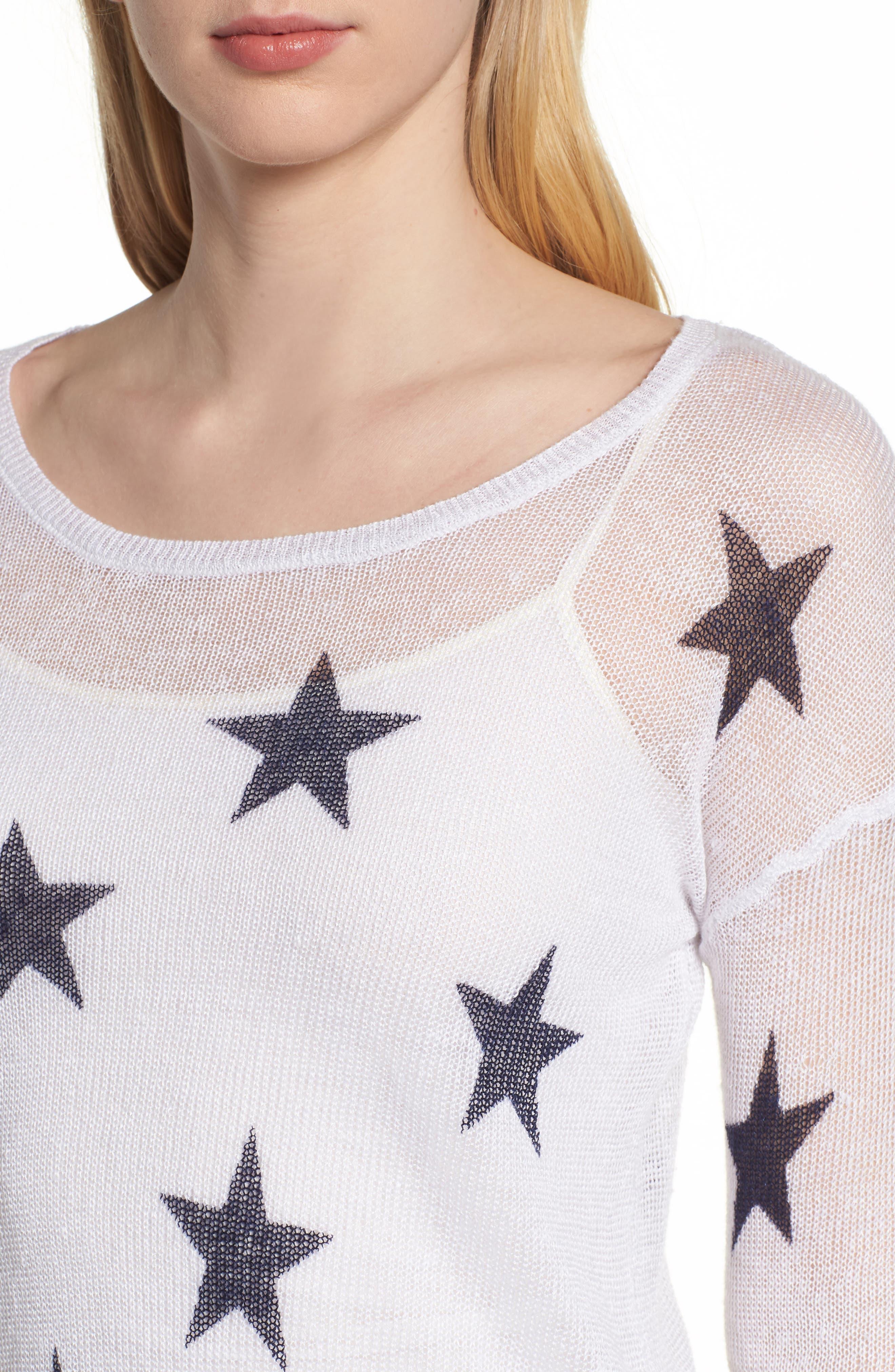 Perri Linen Sweater,                             Alternate thumbnail 4, color,                             White Navy Stars