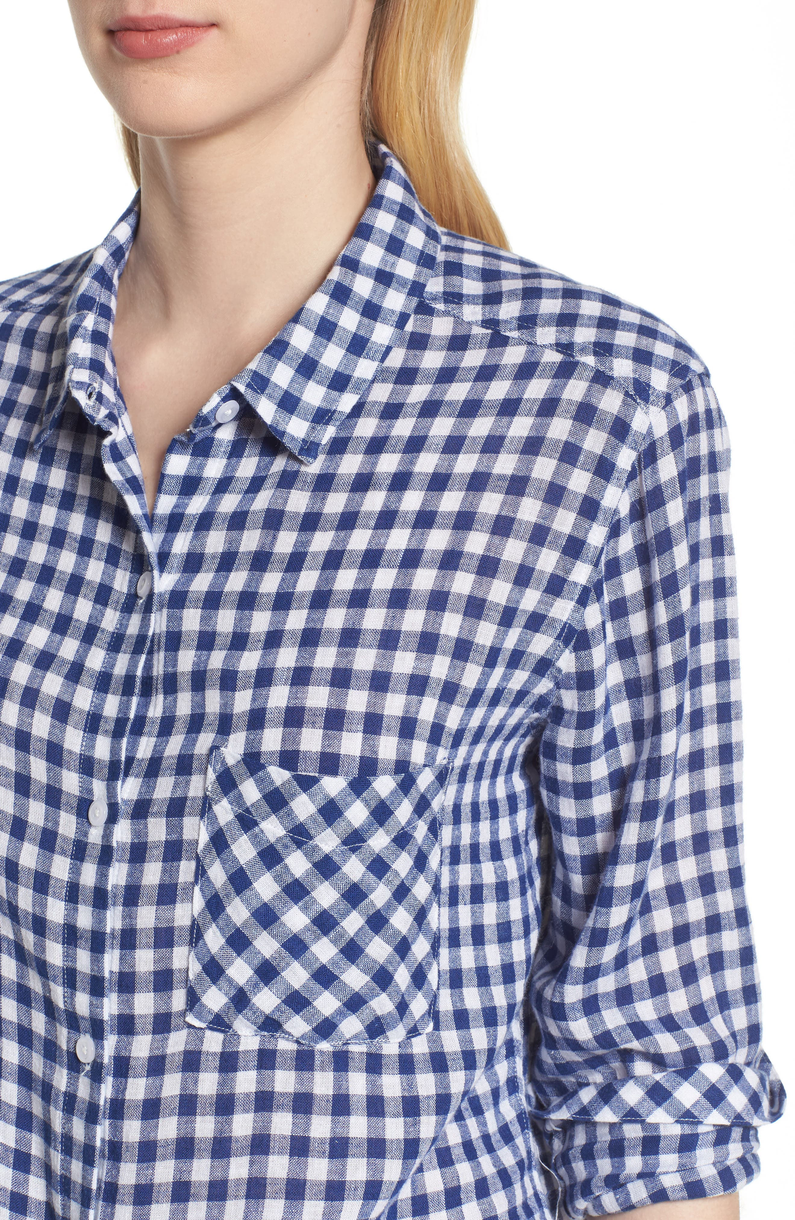 Val Gingham Tie Front Shirt,                             Alternate thumbnail 4, color,                             Blue Gingham