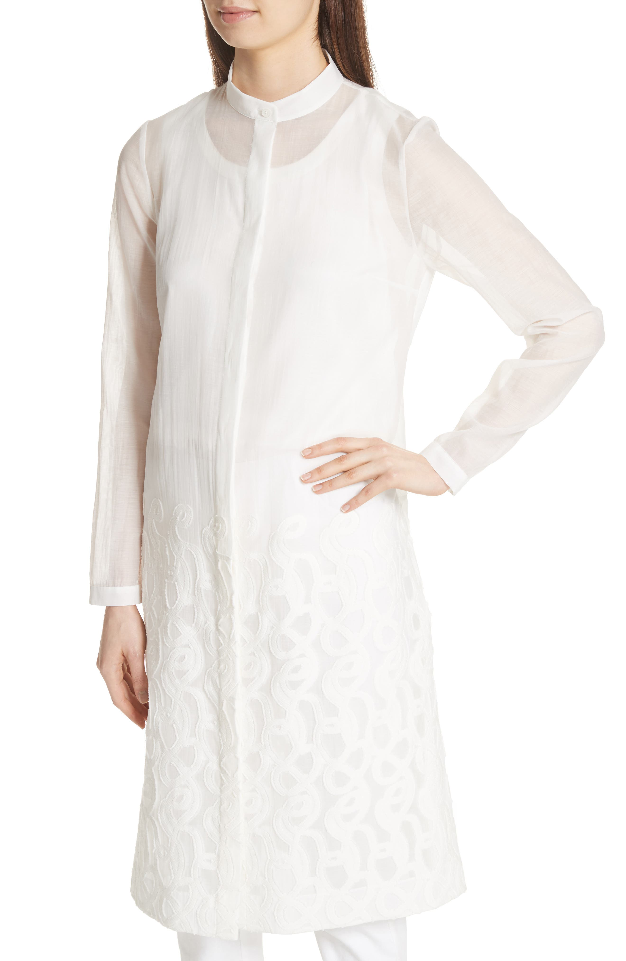 Embroidered Hem Tunic,                             Alternate thumbnail 4, color,                             Gesso